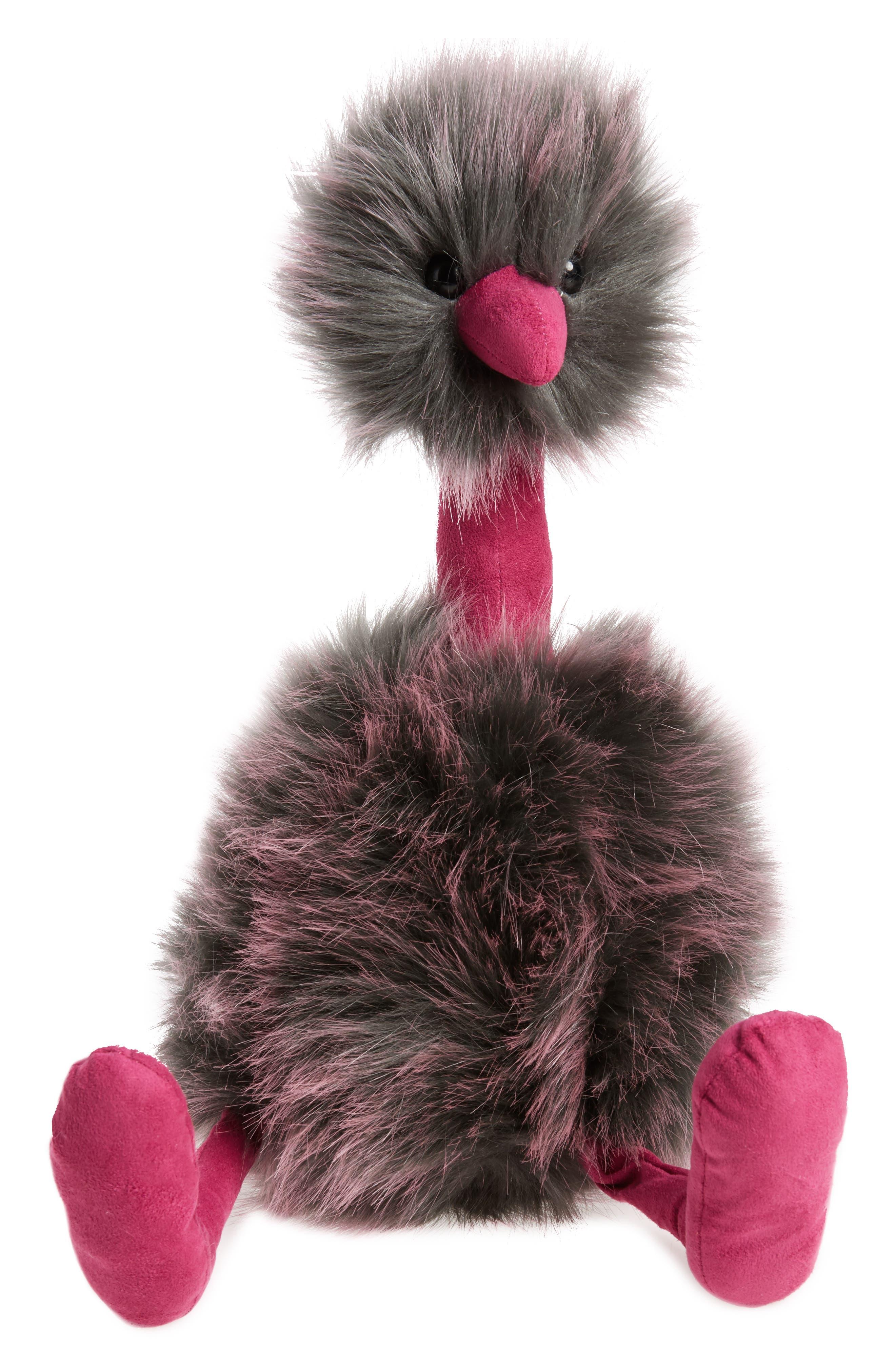 Large Pompom Stuffed Animal,                         Main,                         color, Grey