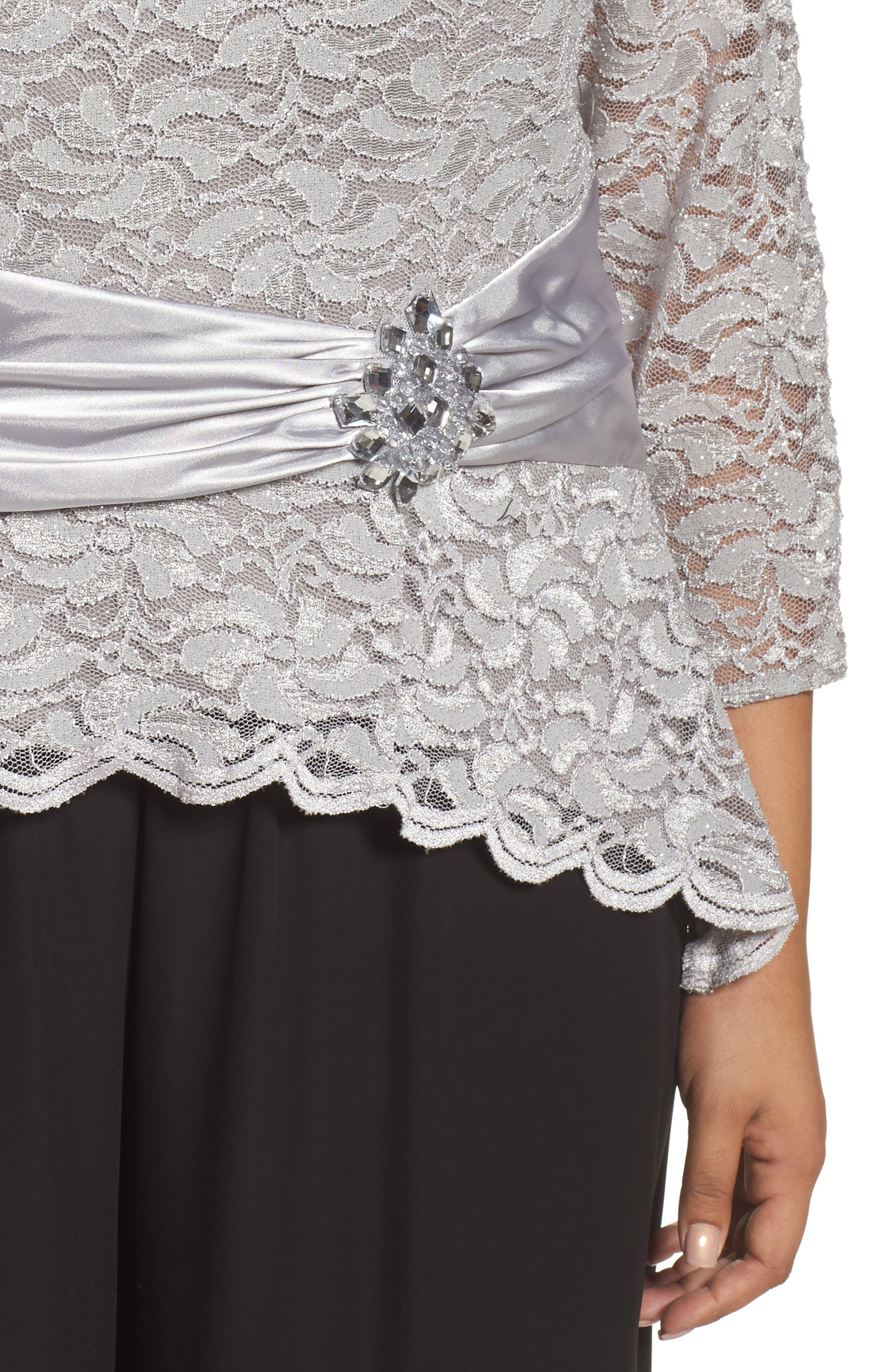 Alternate Image 4  - Alex Evenings Ruched Waist Lace Blouse (Plus Size)