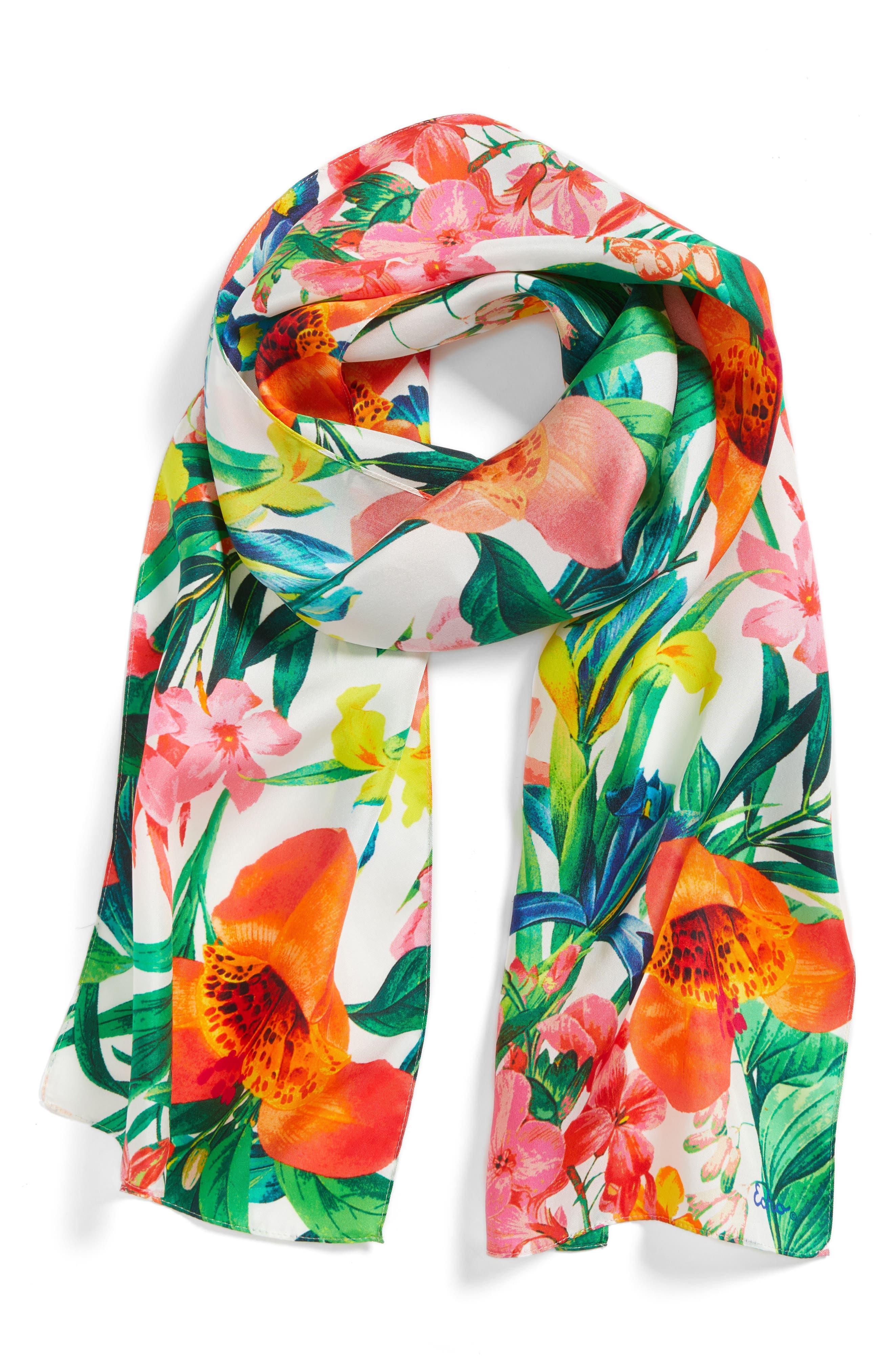 Tropic Floral Silk Scarf,                         Main,                         color, Multi