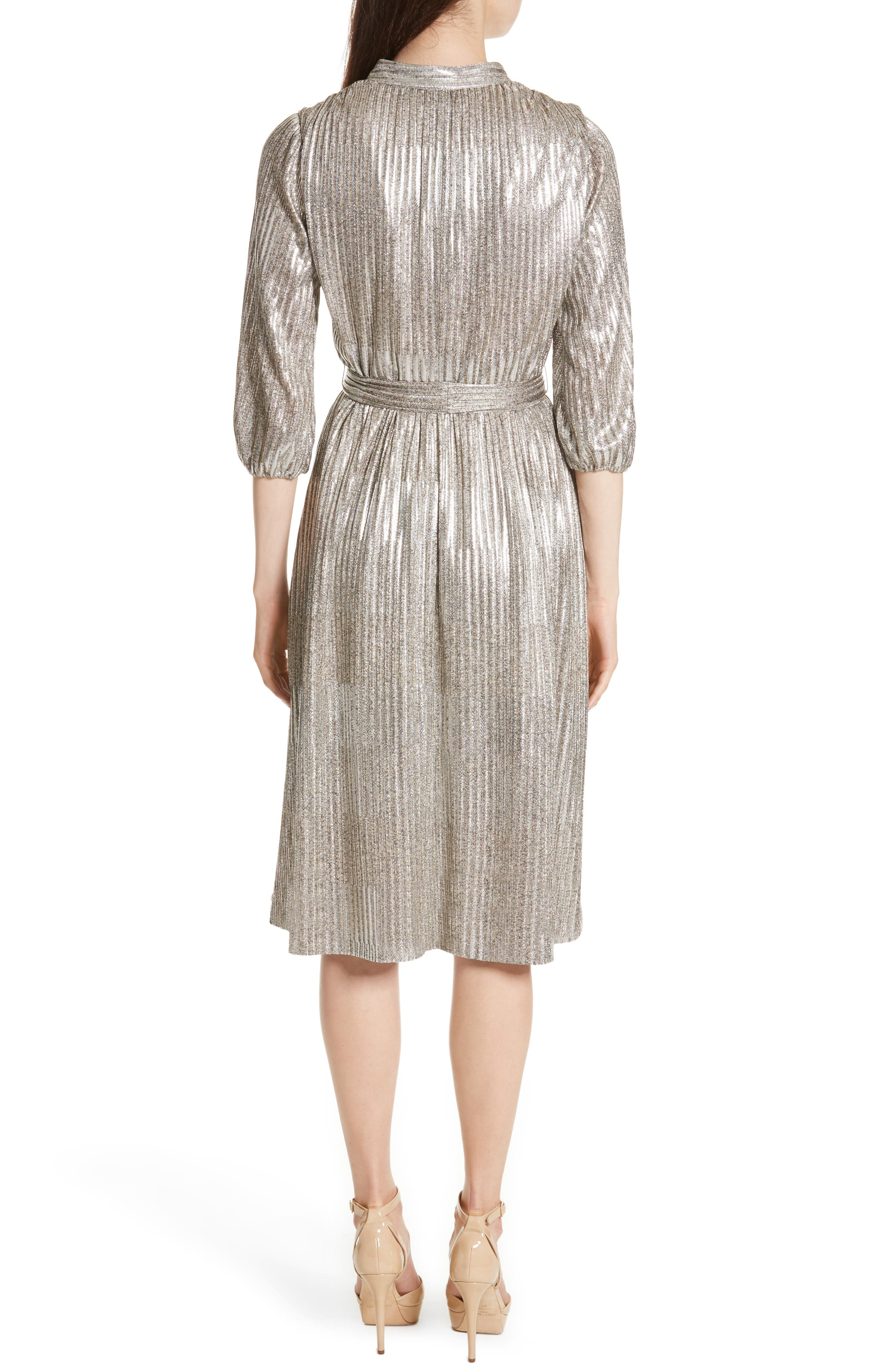 Katina Metallic Wrap Dress,                             Alternate thumbnail 2, color,                             Gold