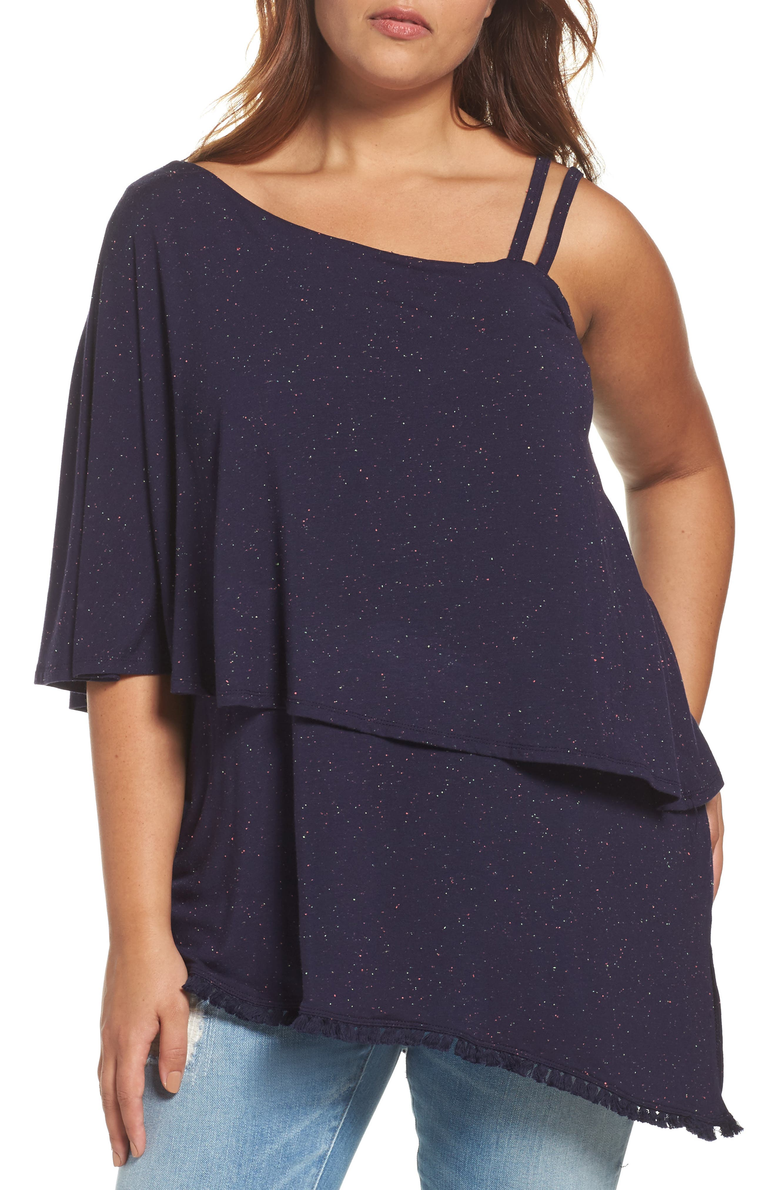 Main Image - Wit & Wisdom One-Shoulder Ruffle Asymmetrical Top (Plus Size) (Nordstrom Exclusive)