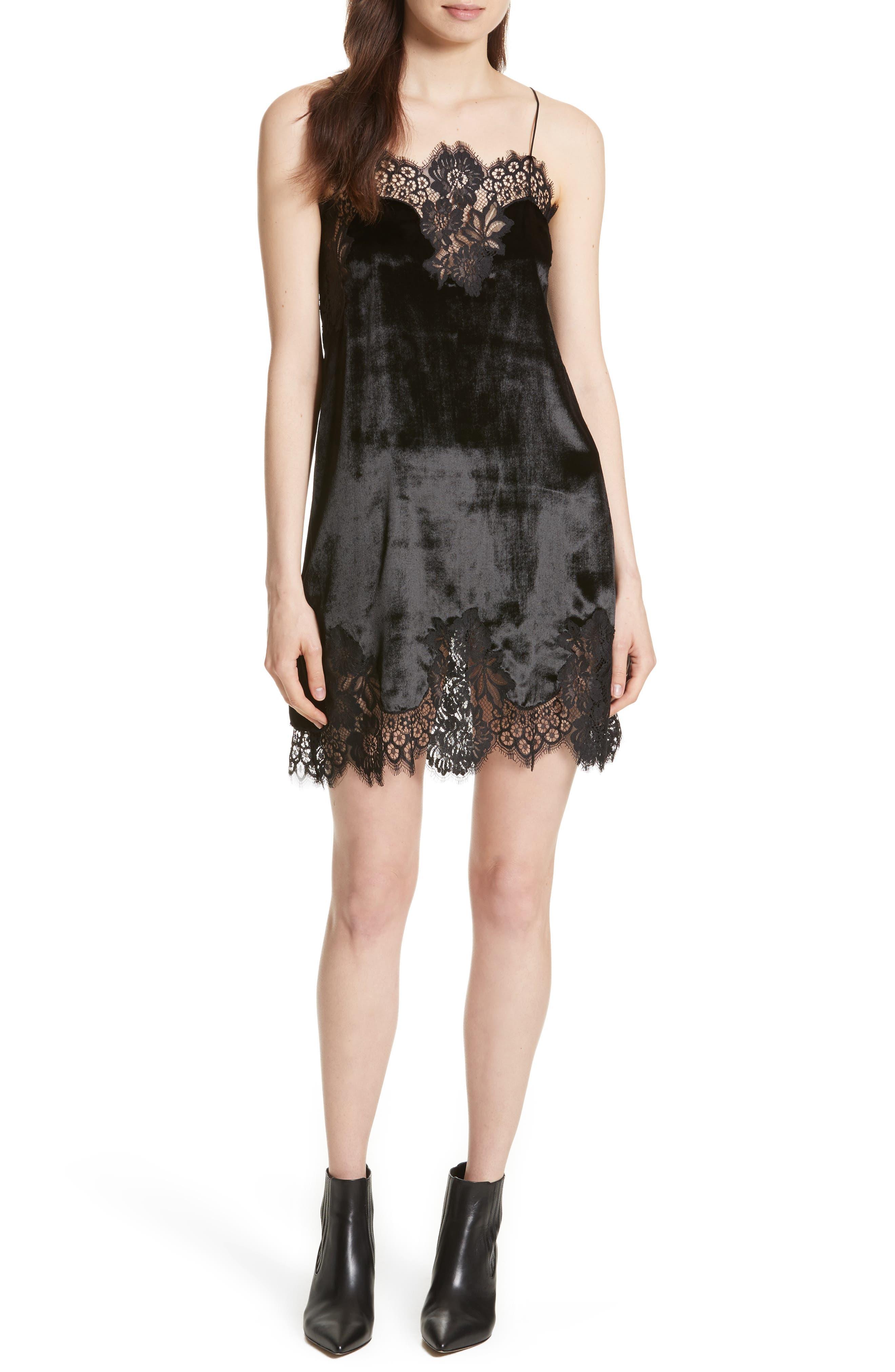 Charice Lace Trim Velvet Slipdress,                         Main,                         color, Black
