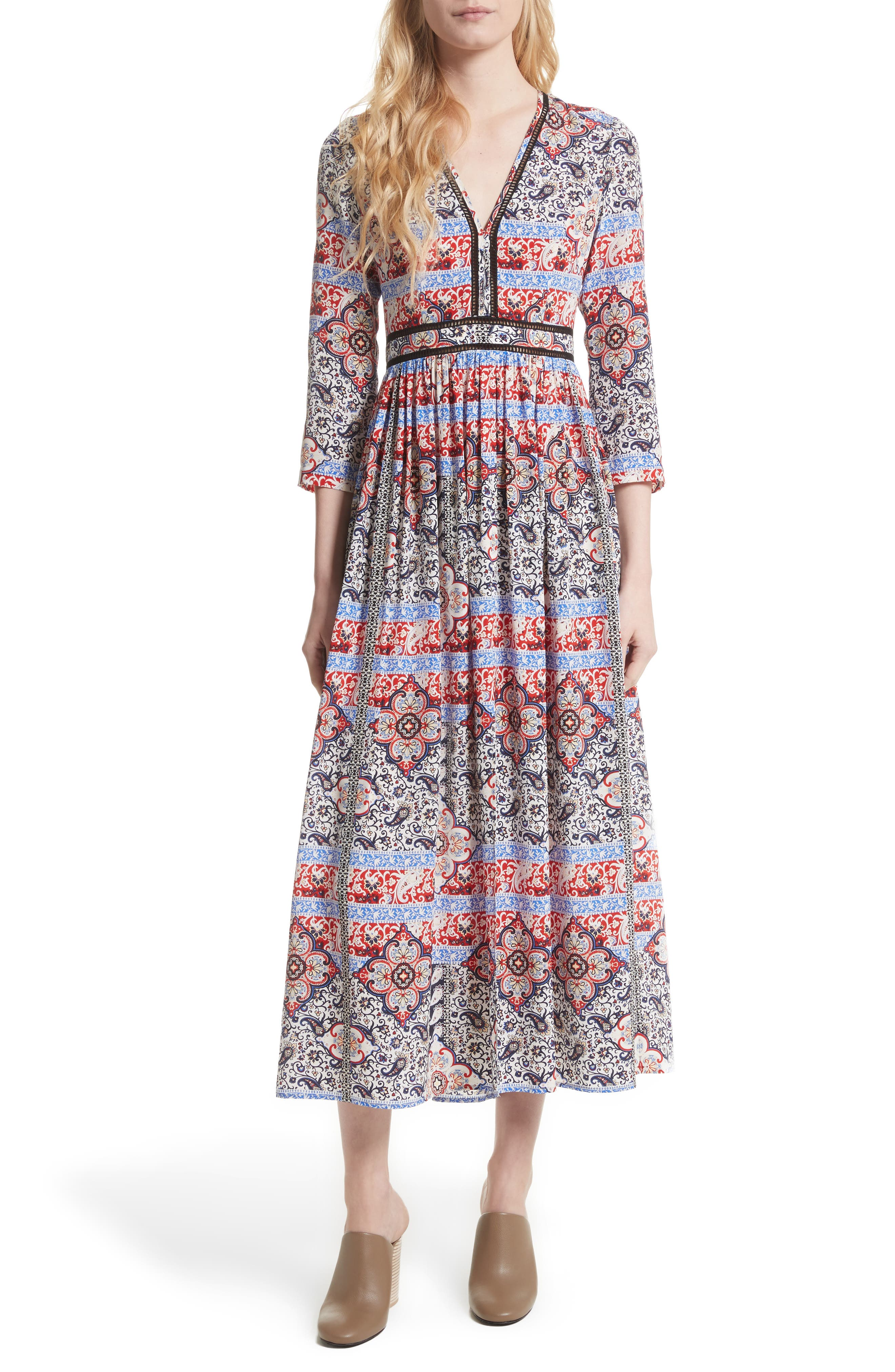 Rosalia Print Silk Maxi Dress,                         Main,                         color, Ivory Multi