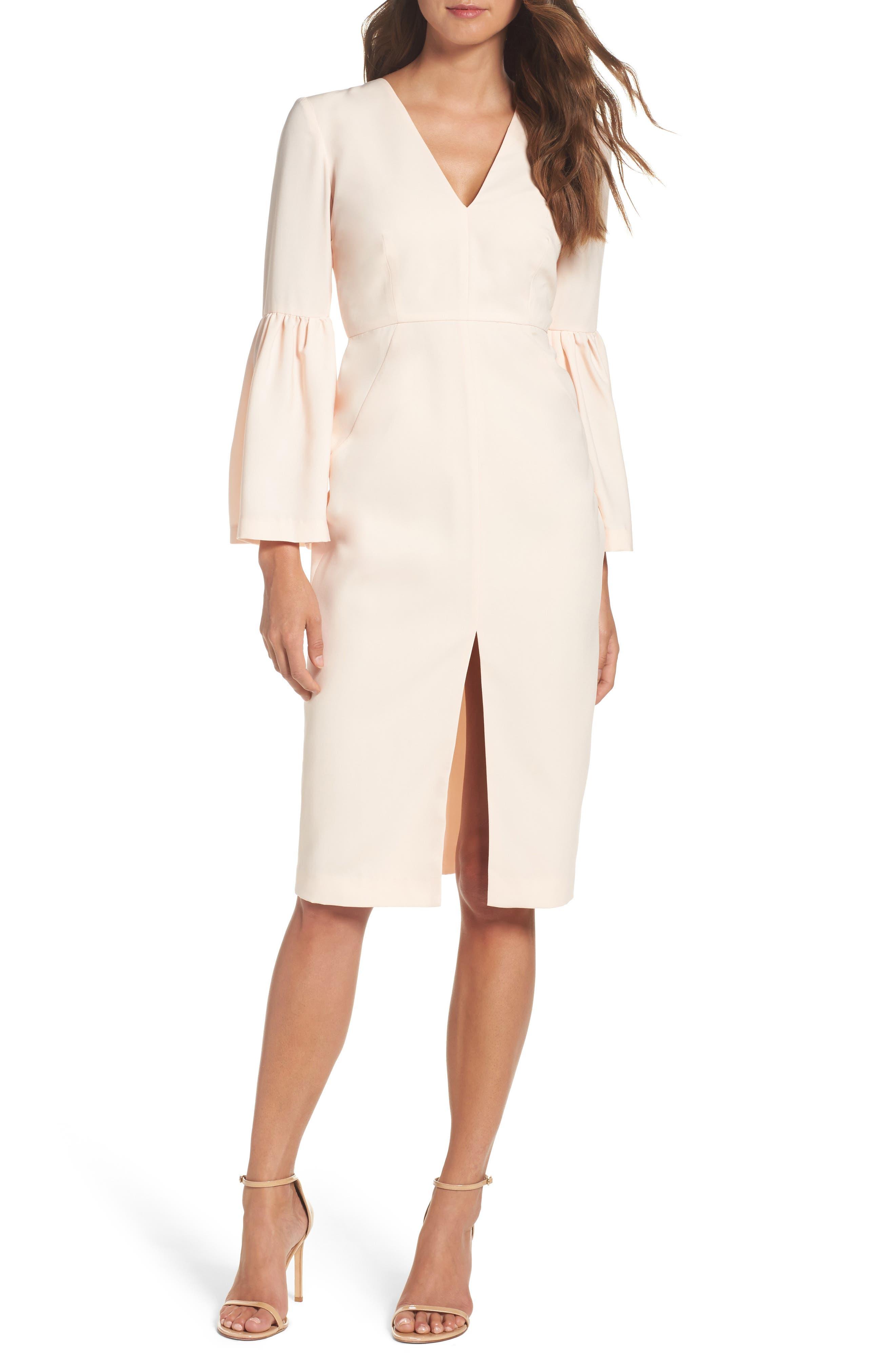 Bell Sleeve Dress,                             Main thumbnail 1, color,                             Powder