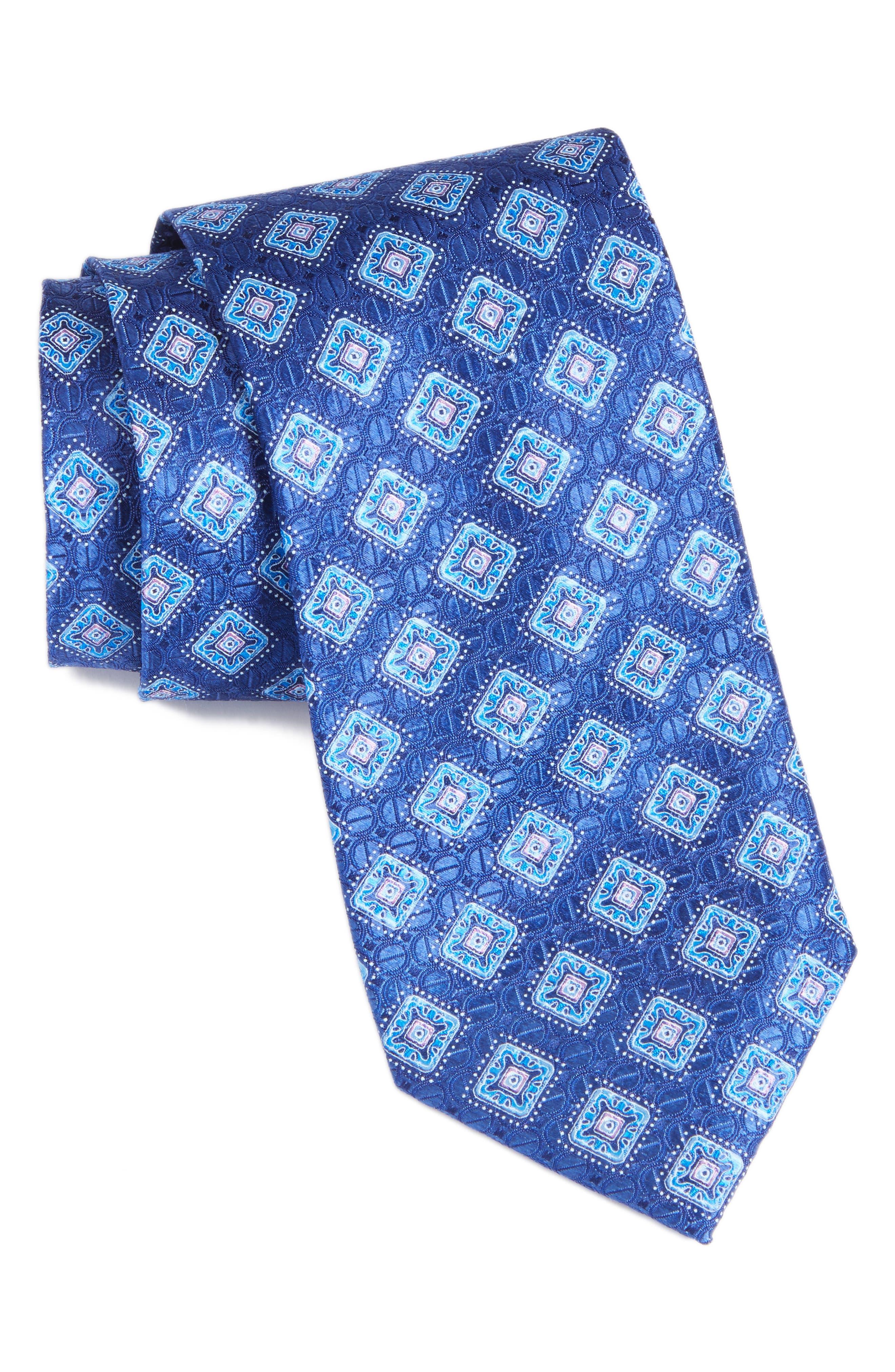 Sanders Neat Silk Tie,                             Main thumbnail 1, color,                             Navy
