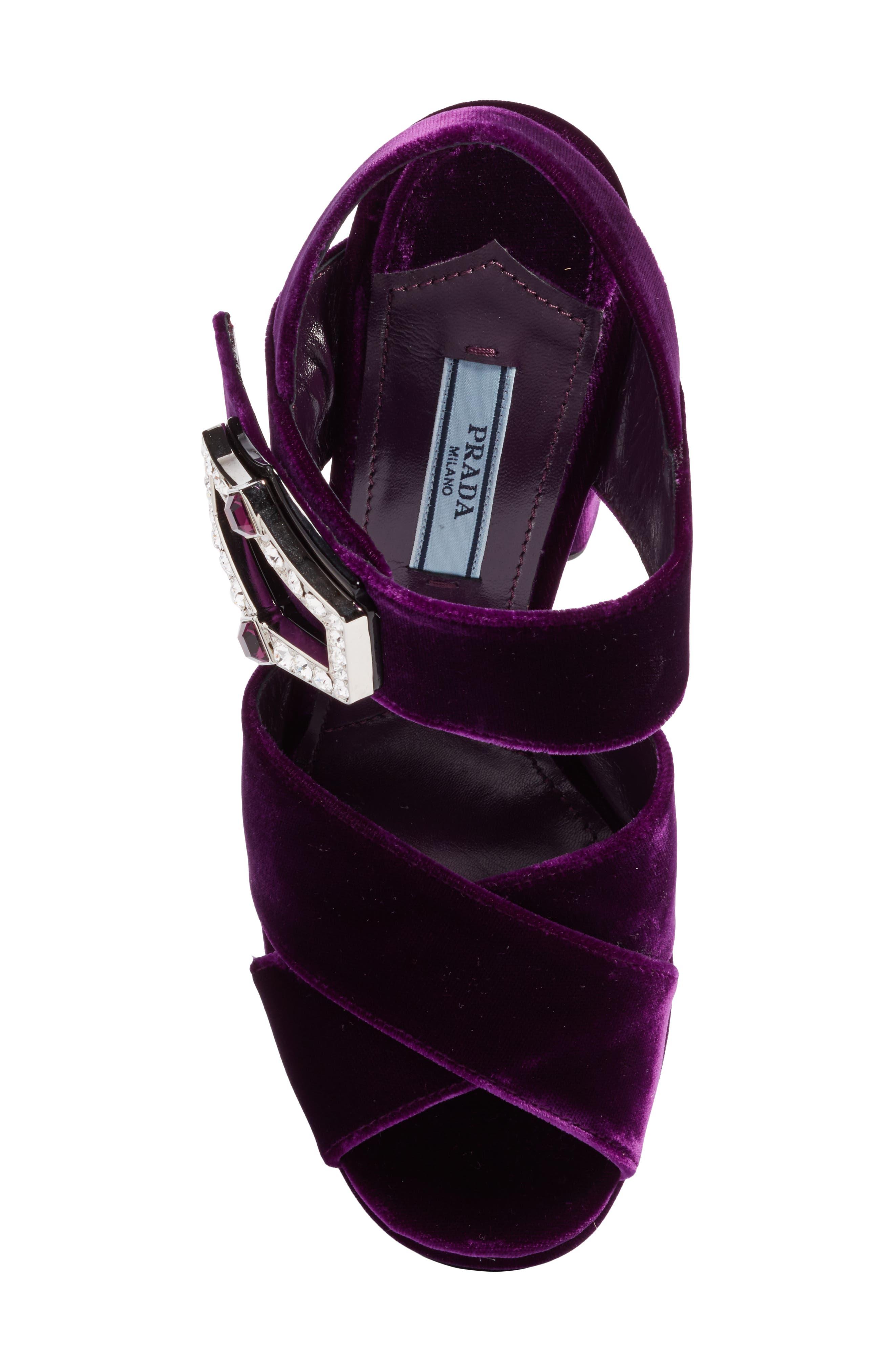 Criss Cross Platform Sandal,                             Alternate thumbnail 5, color,                             Purple