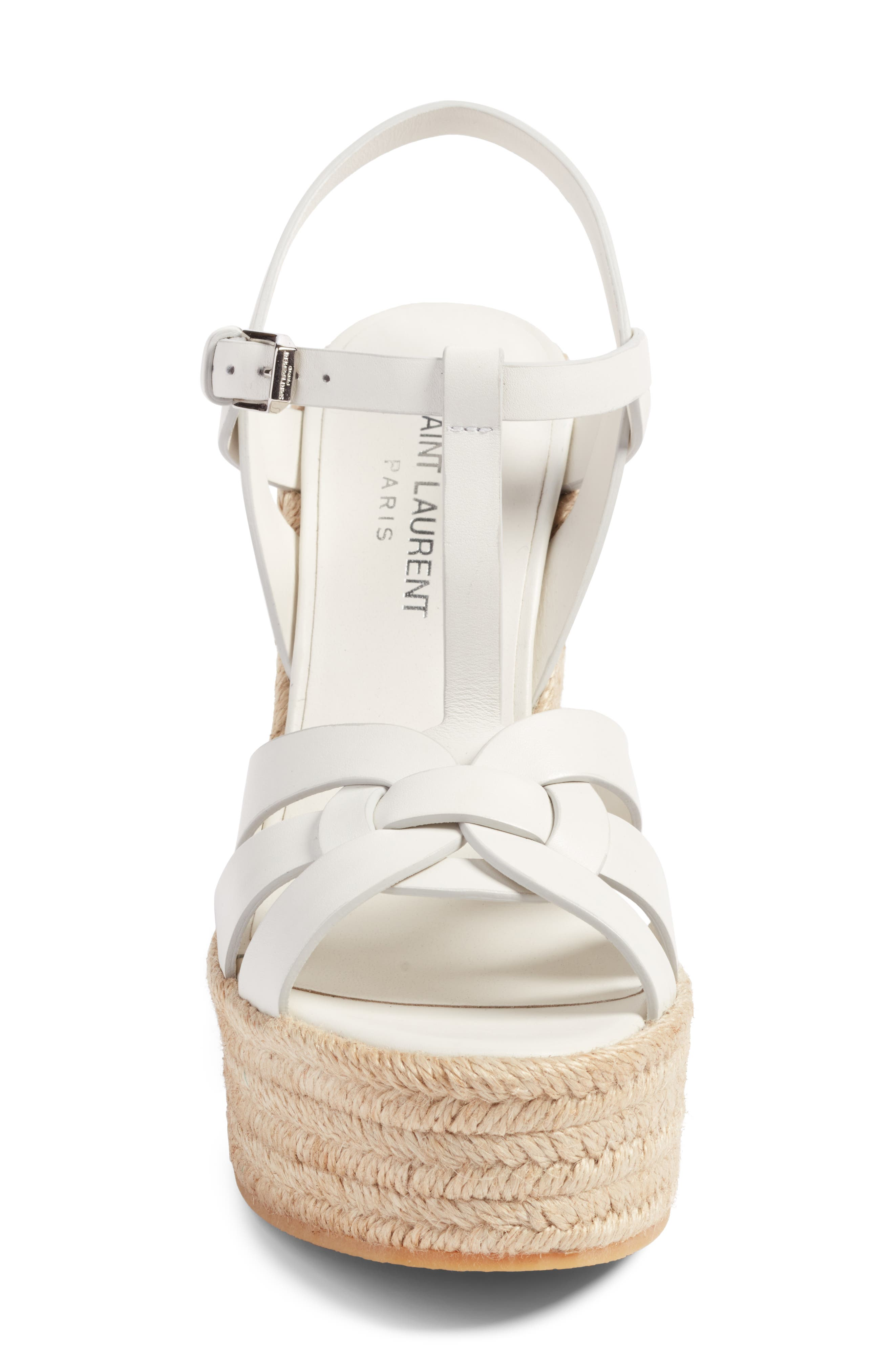 Tribute Espadrille Wedge,                             Alternate thumbnail 4, color,                             White Leather
