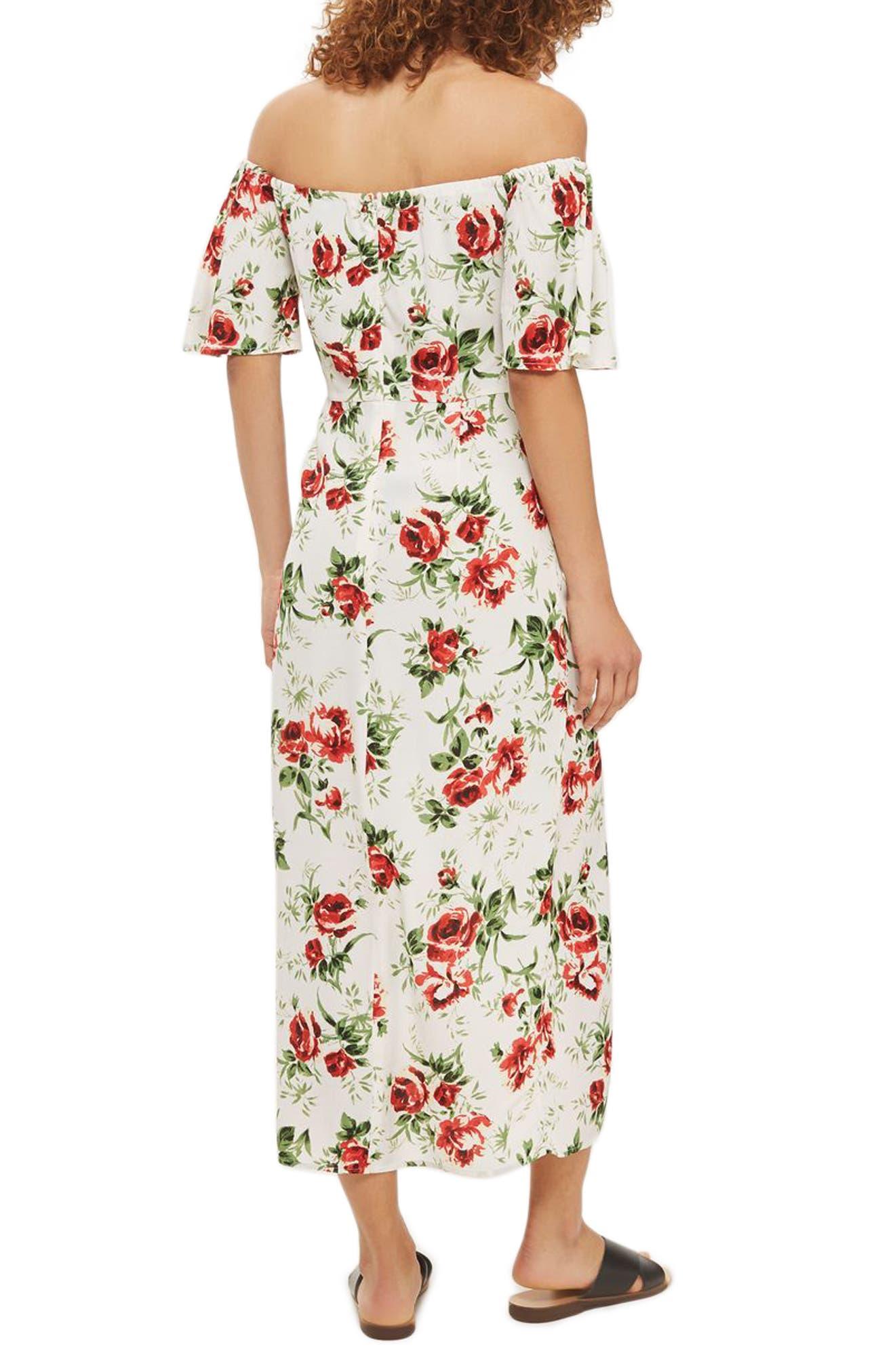 Bardot Rose Print Midi Dress,                             Alternate thumbnail 2, color,                             Ivory Multi