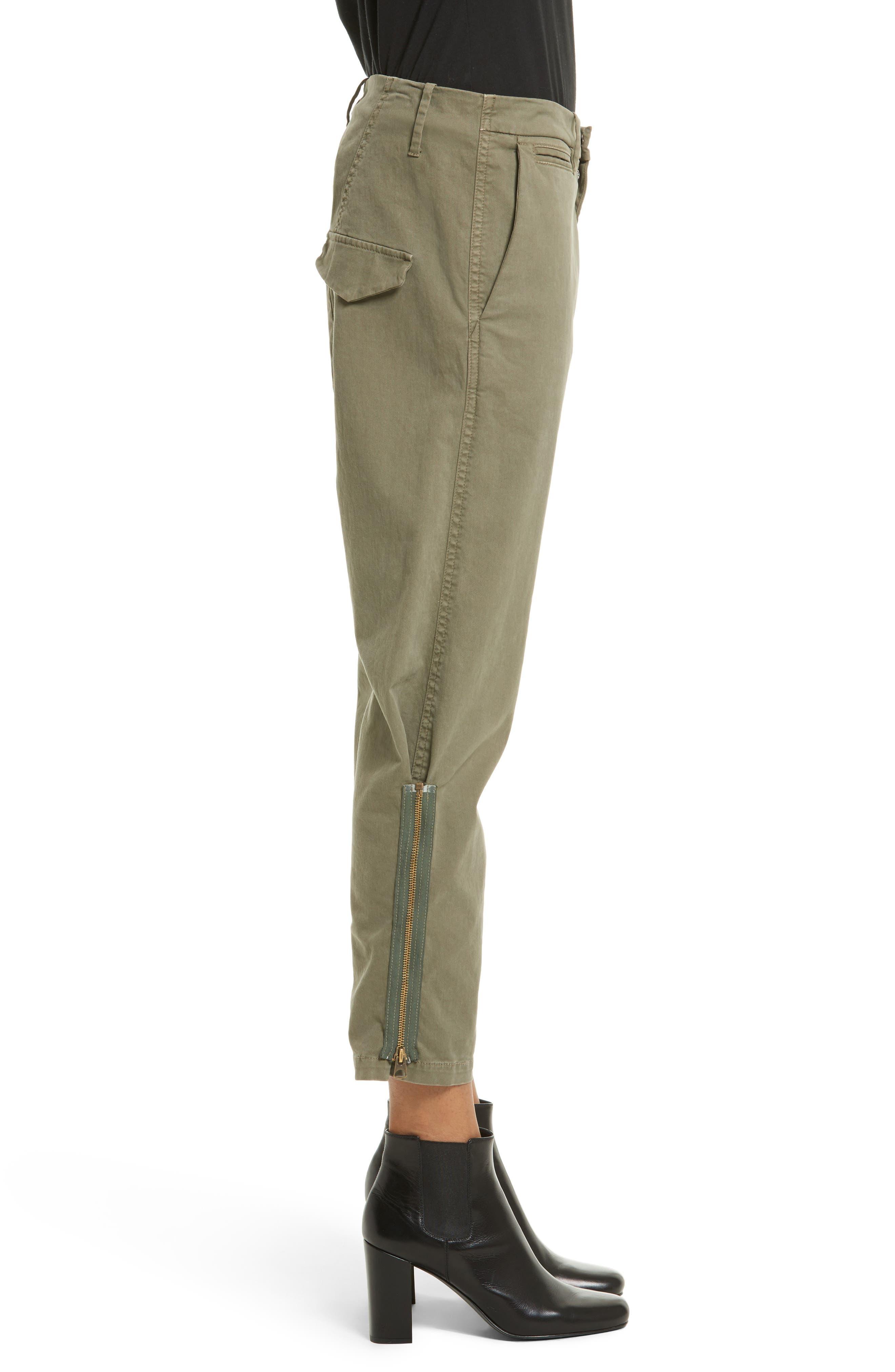 Alternate Image 3  - Nili Lotan Jackson Side Zip Detail Drop Waist Crop Pants