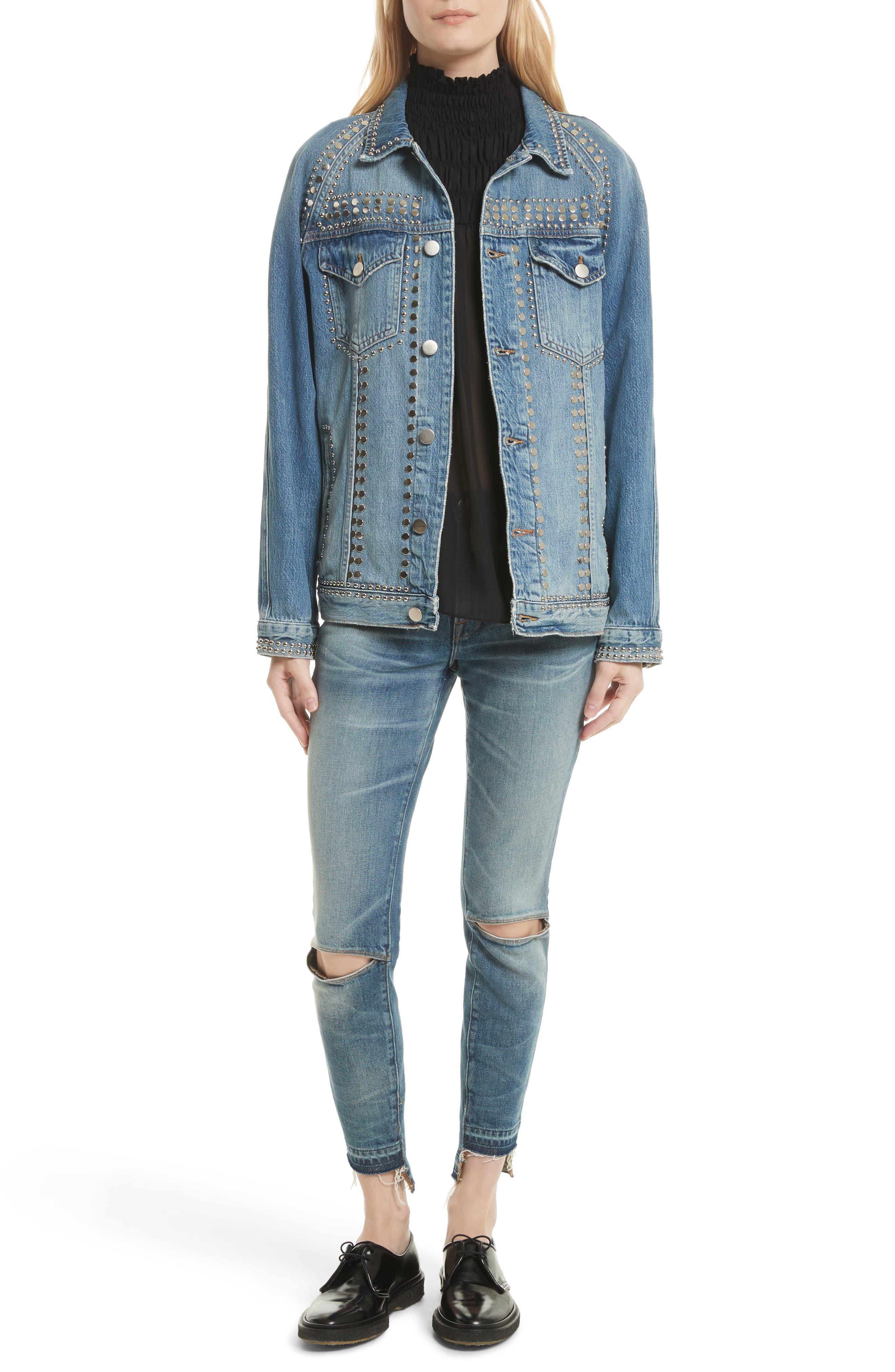 Alternate Image 7  - FRAME Le Studded Denim Jacket