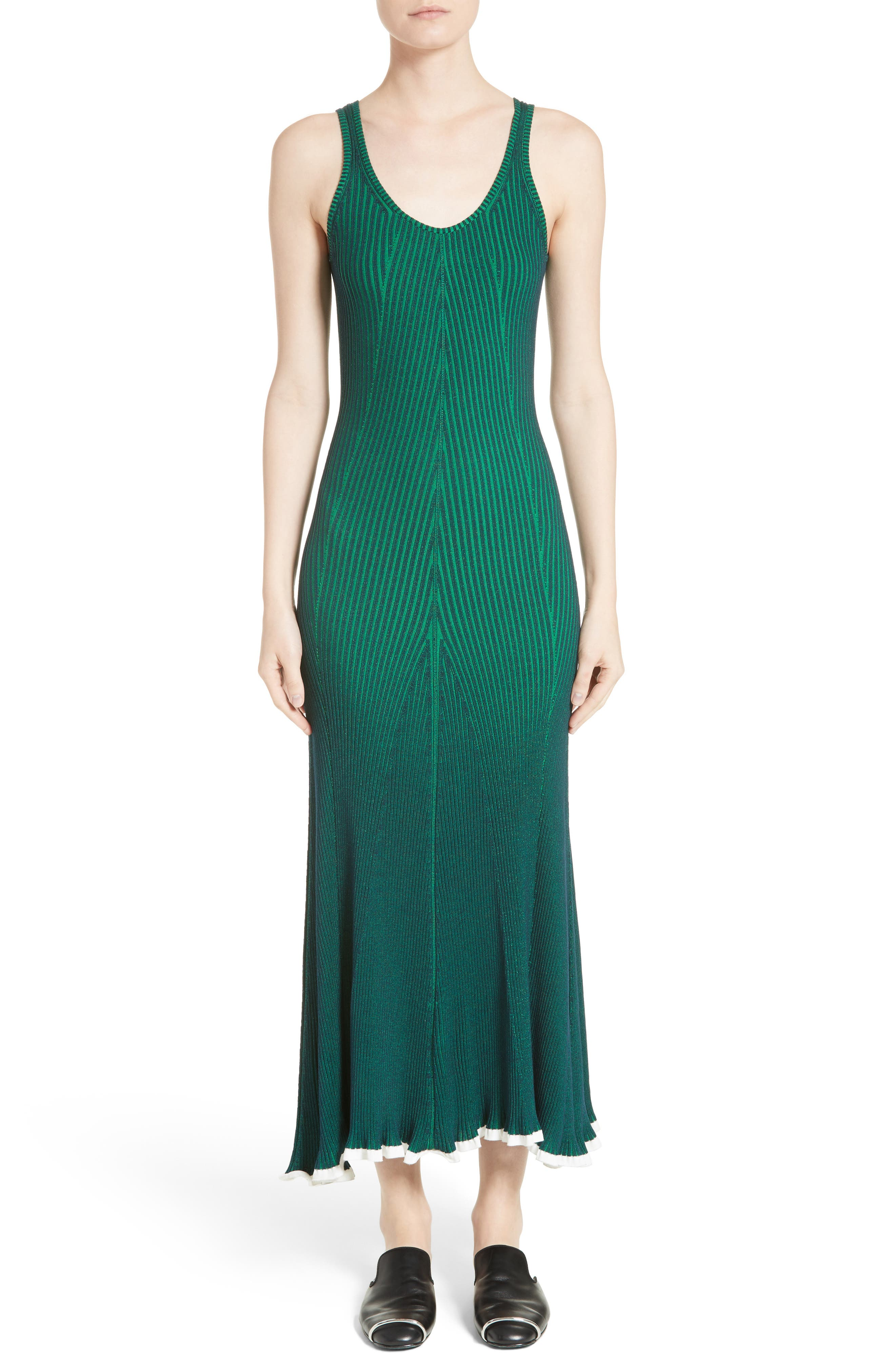 Ribbed Maxi Dress,                         Main,                         color, Navy With Emerald Combo