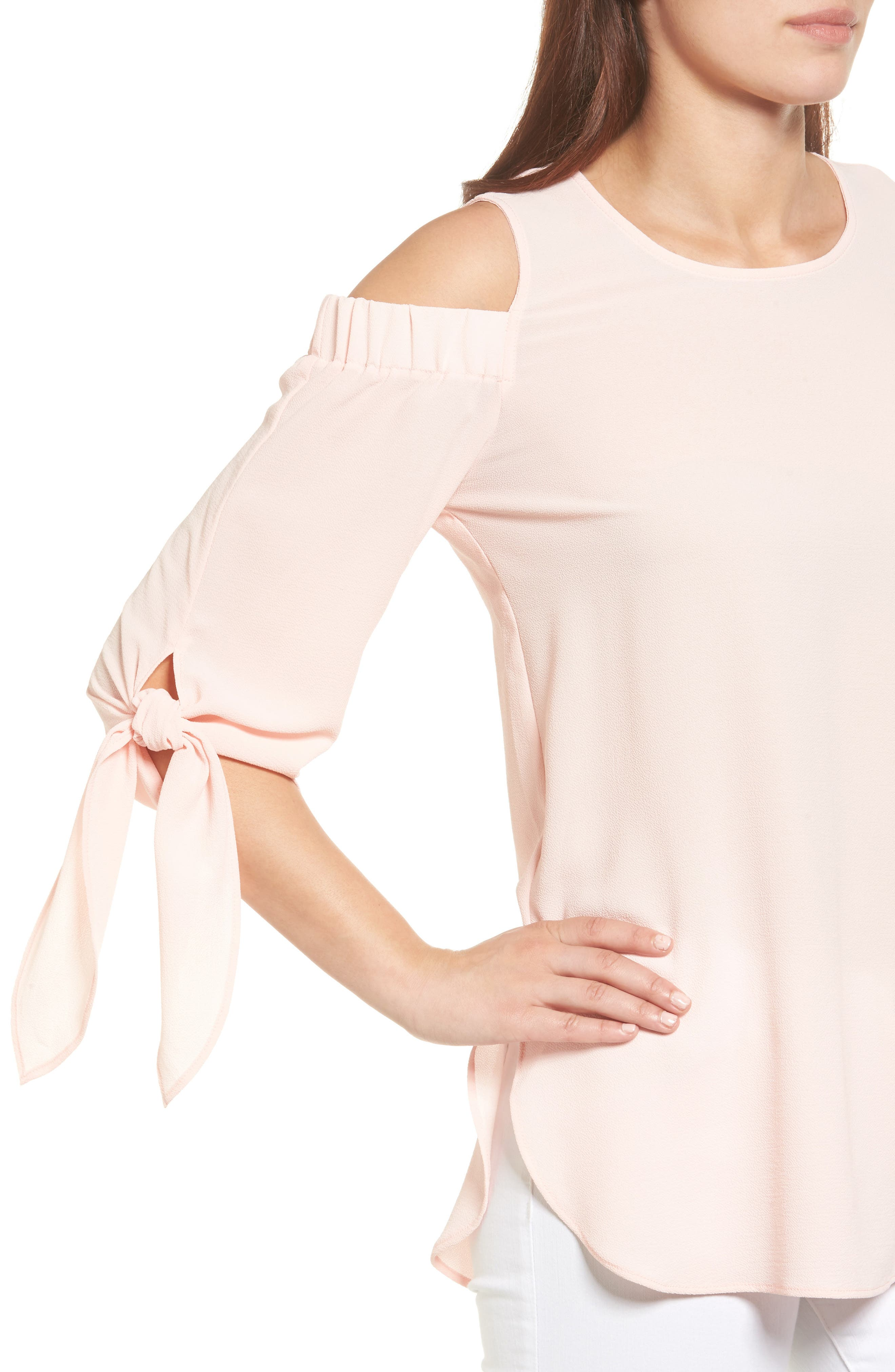Cold Shoulder Top,                             Alternate thumbnail 4, color,                             Blush