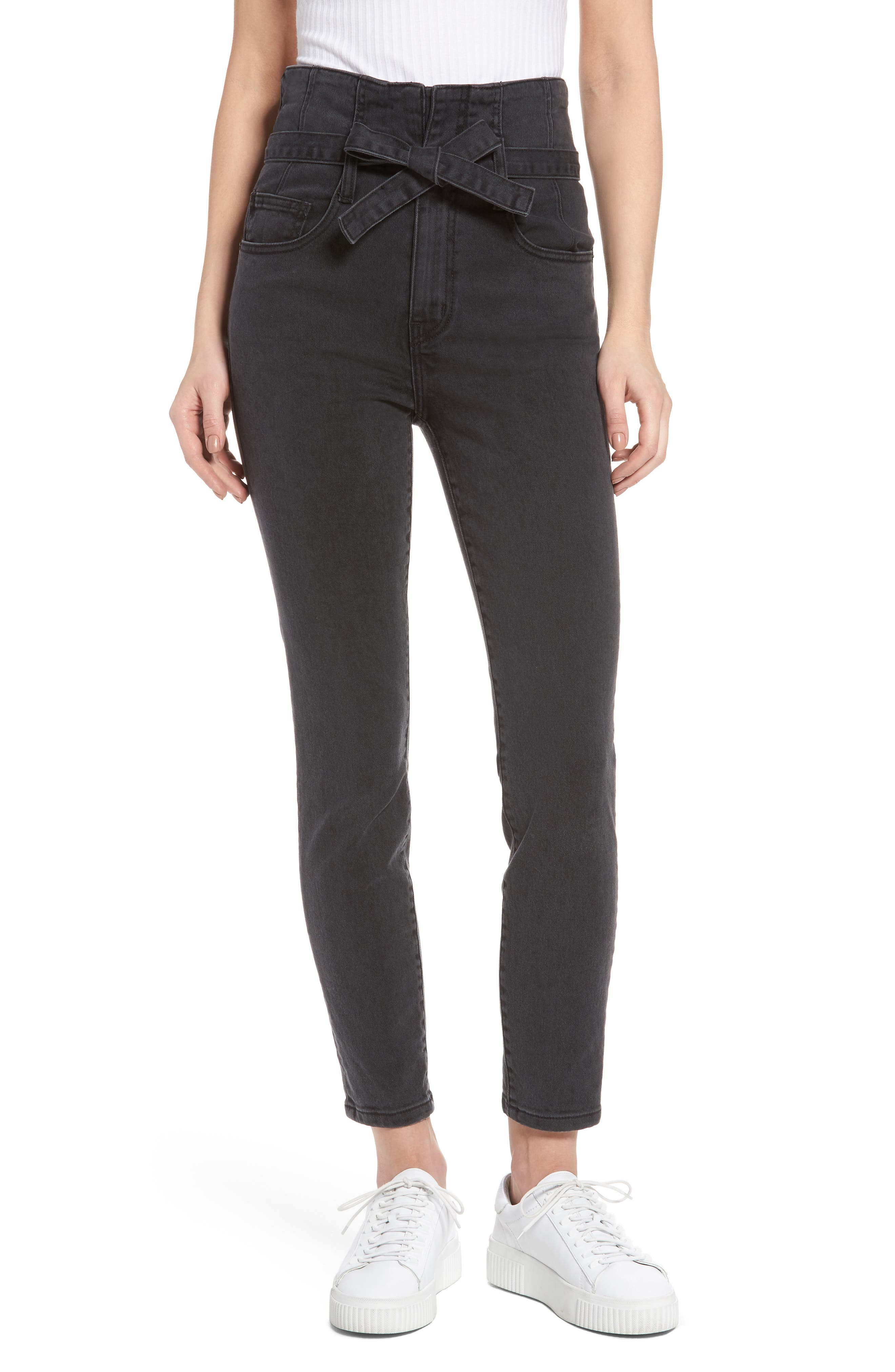 Main Image - Current/Elliott Corset Stiletto Ankle Skinny Jeans (Indiana)