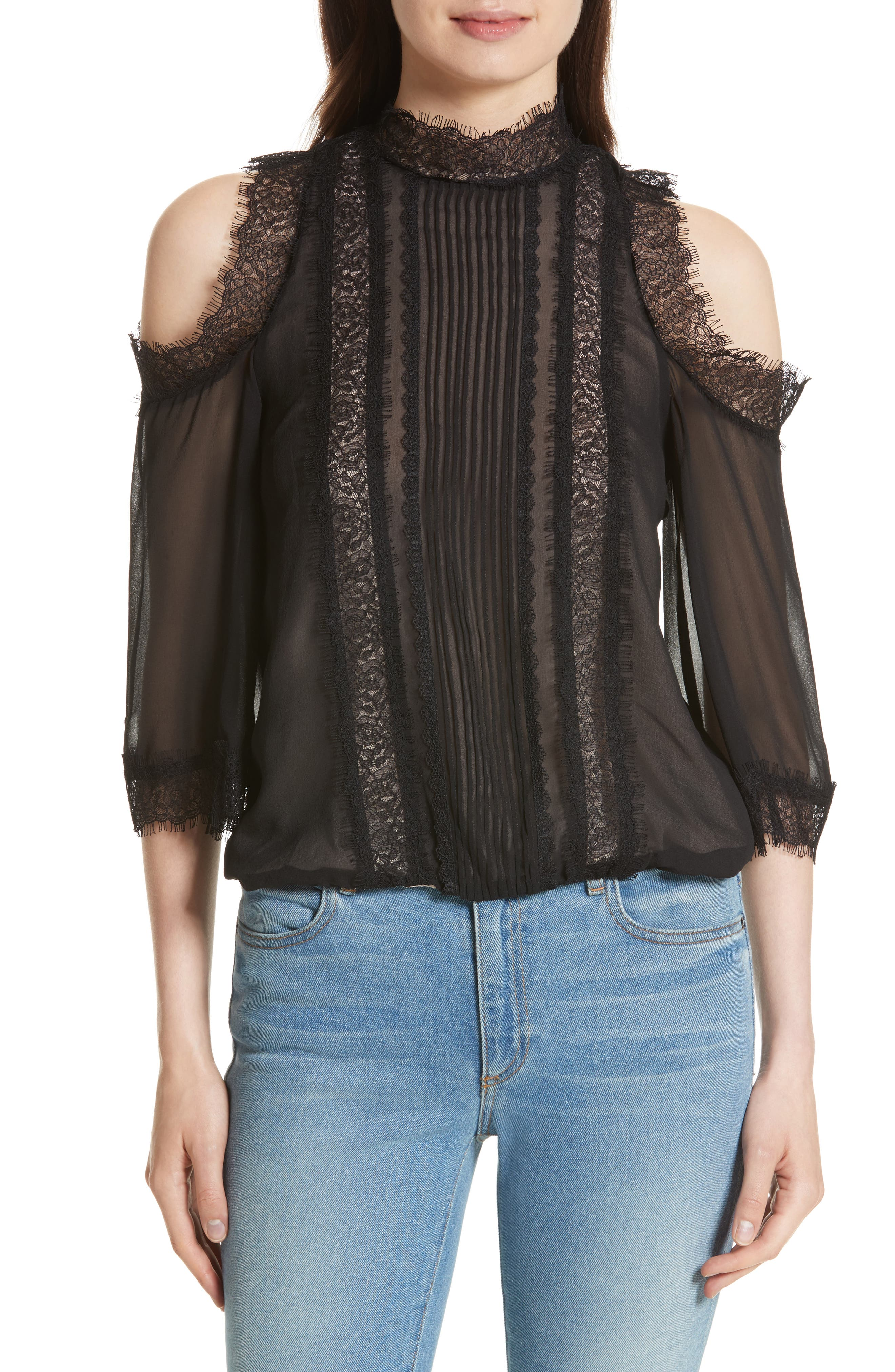 Alice + Olivia Glinda Cold Shoulder Blouse