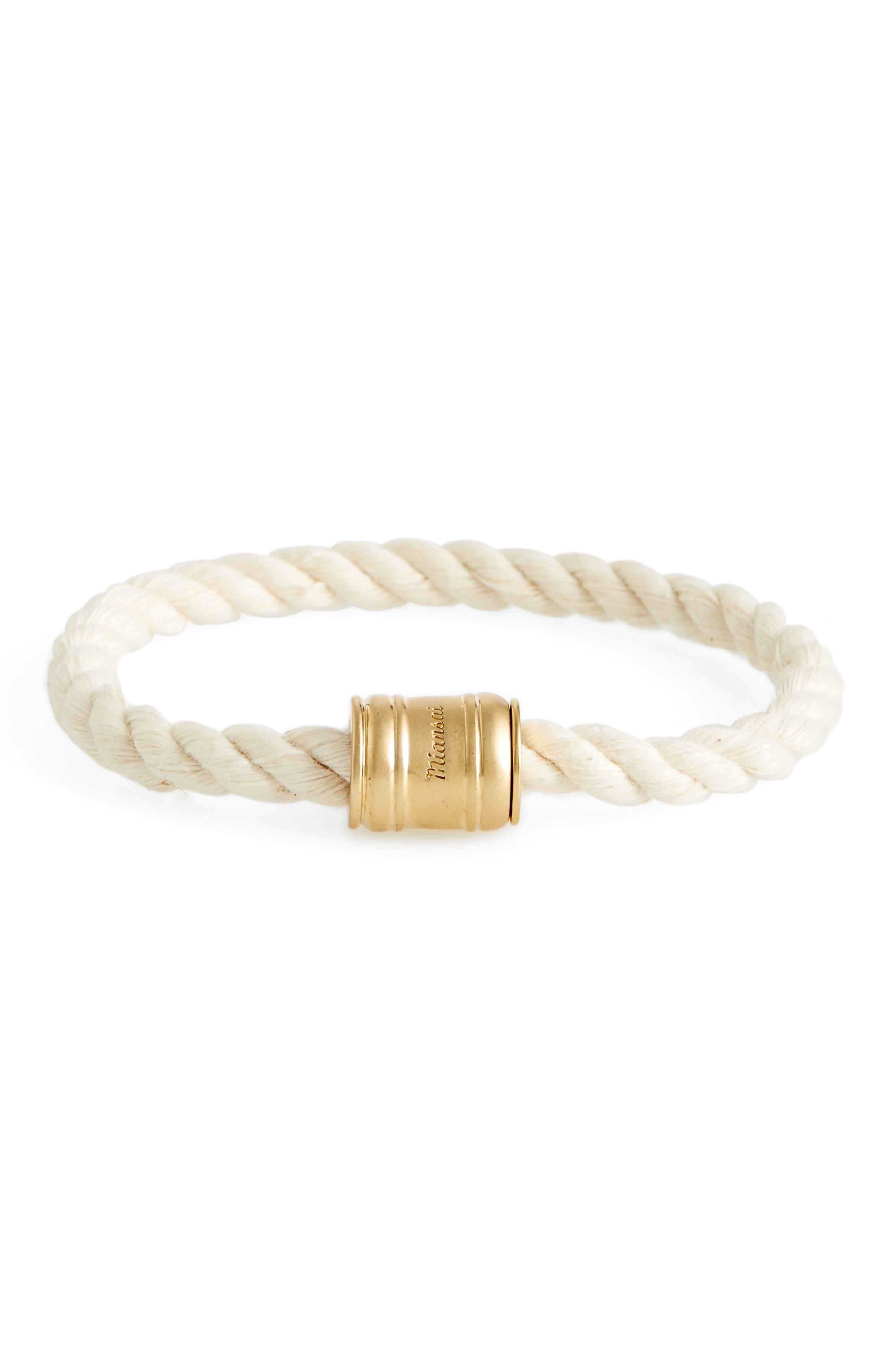 Barrel Casing Rope Bracelet,                         Main,                         color, Natural