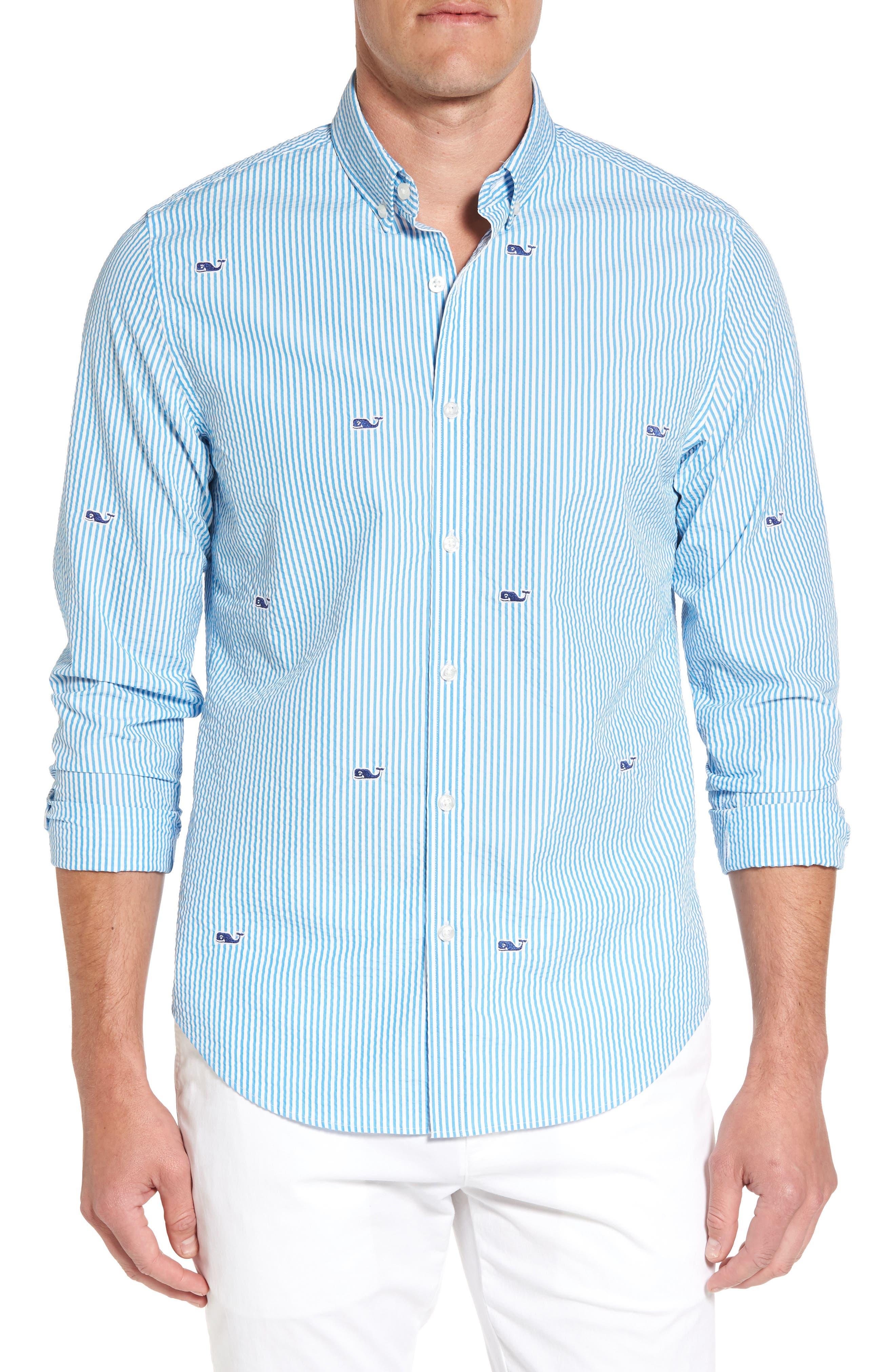 Vineyard Vines Embroidered Seersucker Slim Fit Sport Shirt