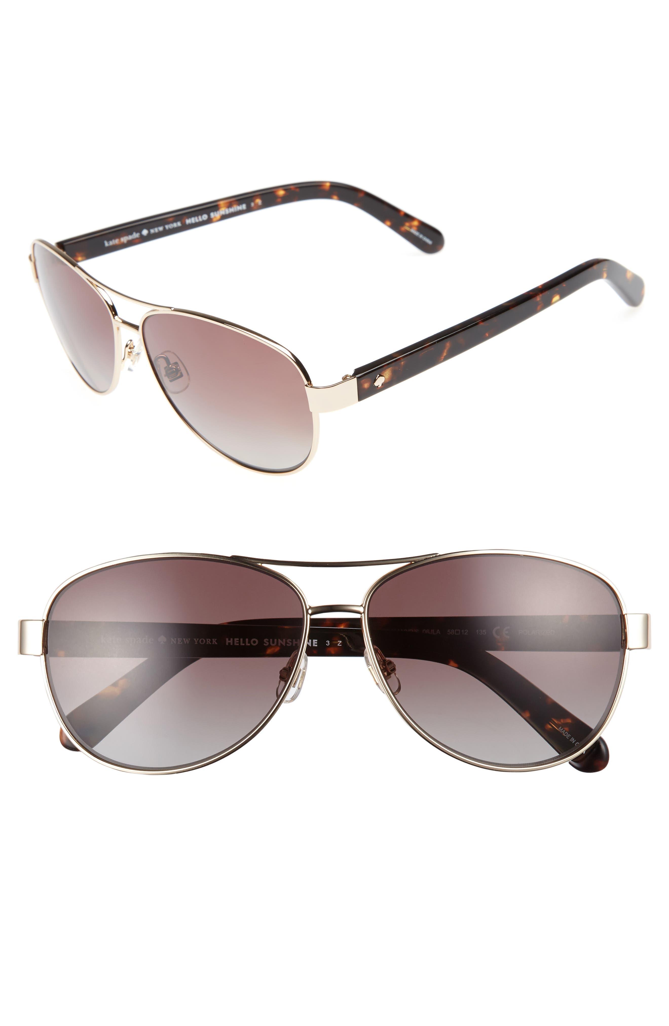 'dalia' 58mm polarized aviator sunglasses,                         Main,                         color, Gold Havana