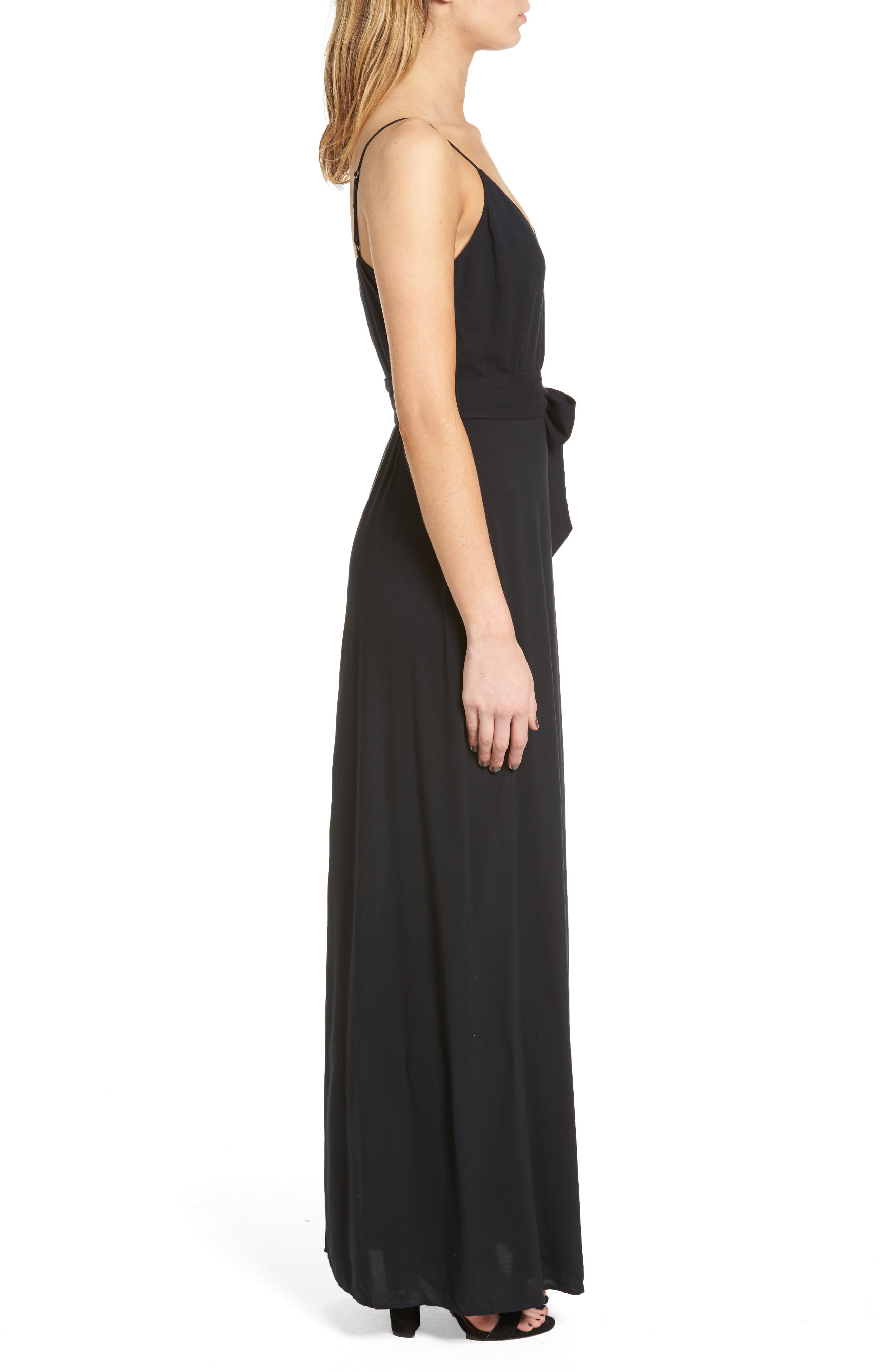 Regina Maxi Dress,                             Alternate thumbnail 3, color,                             Black