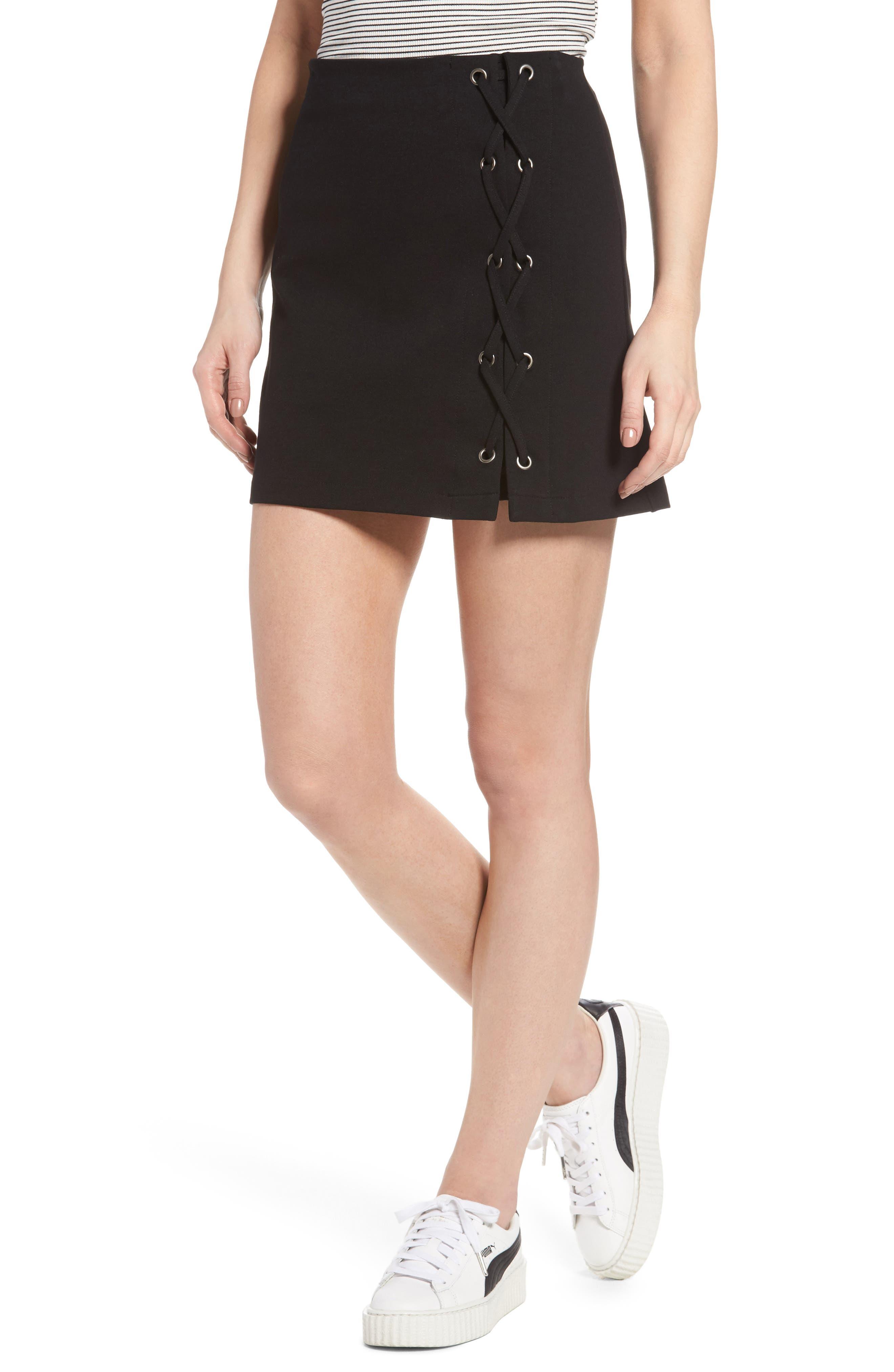 Grommet Lace-Up Miniskirt,                         Main,                         color, Black