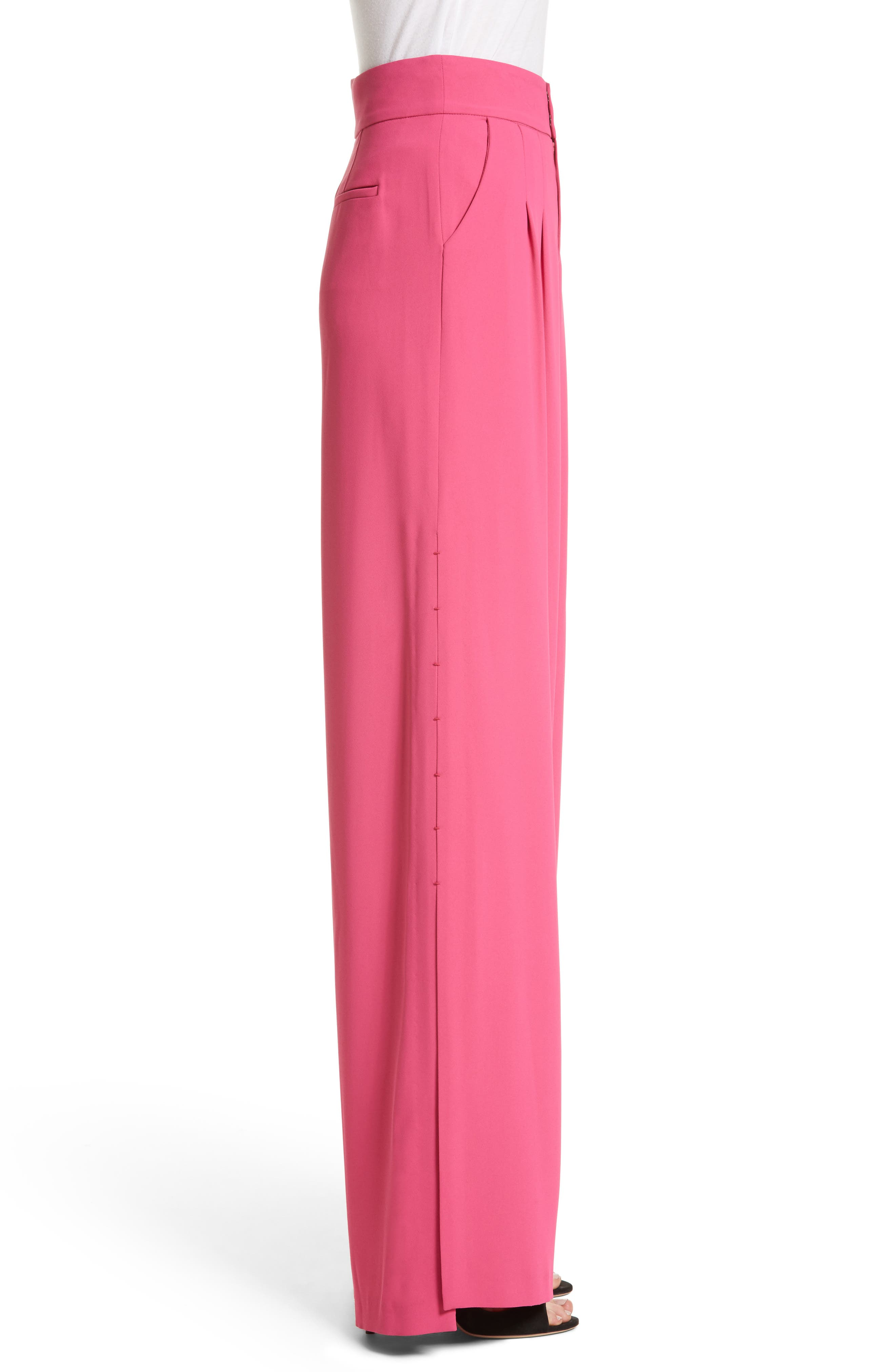 Shavon High Waist Side Slit Flare Pants,                             Alternate thumbnail 3, color,                             Fuchsia