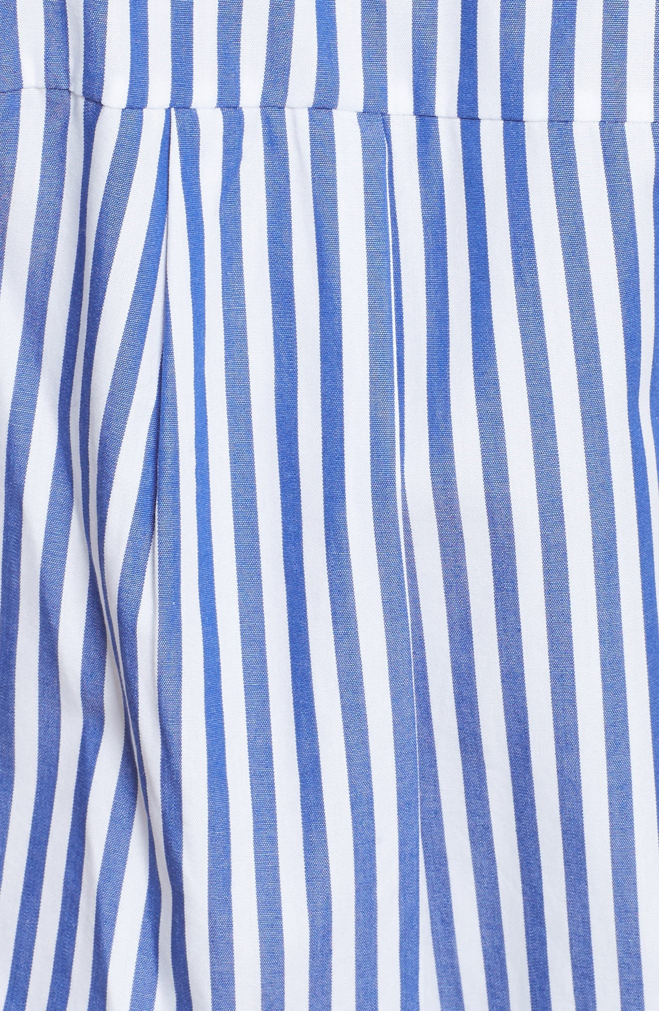 Ruched Stripe Shirtdress,                             Alternate thumbnail 5, color,                             Blue/ White Stripe