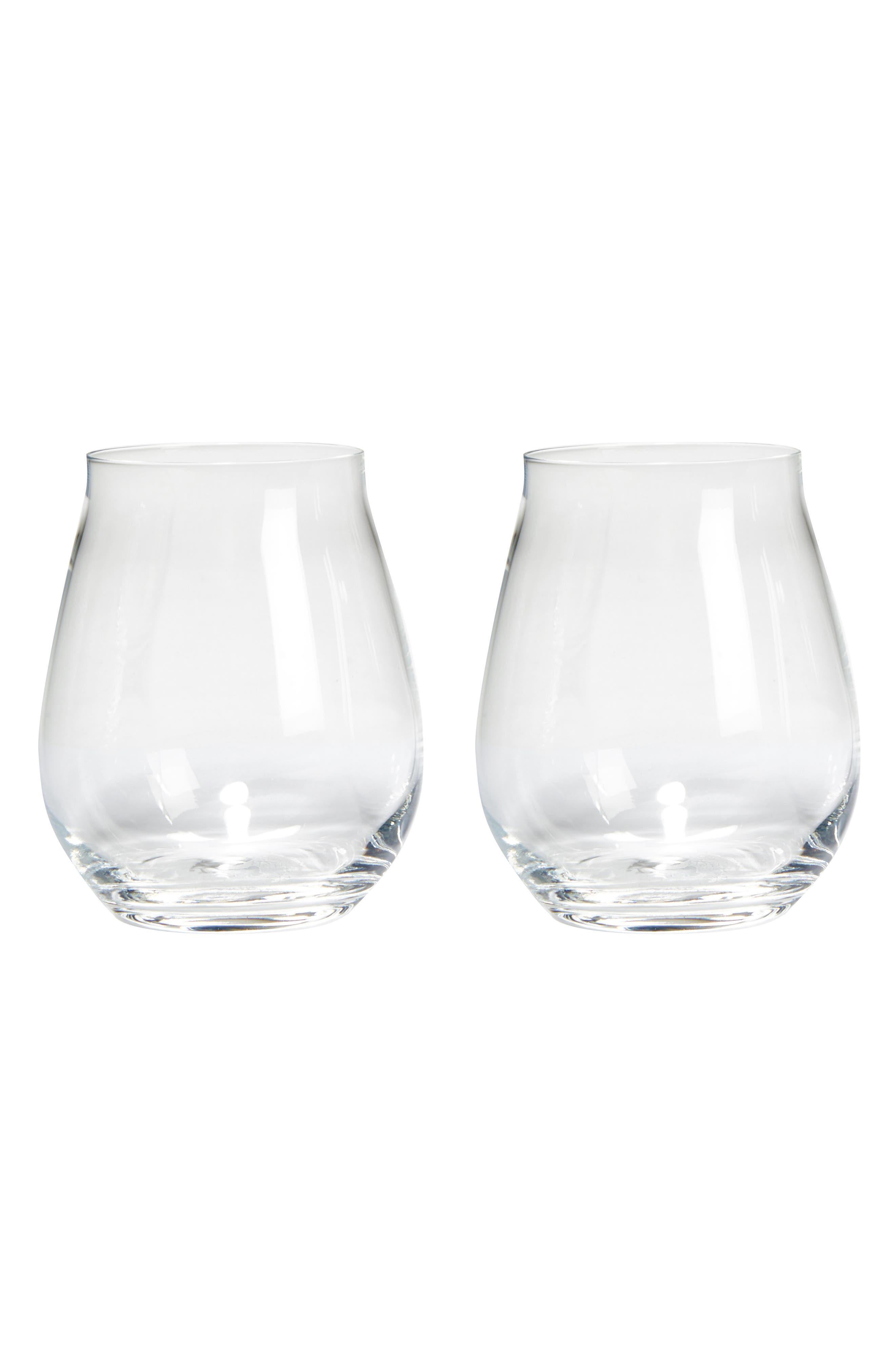 Luigi Bormiolo Vinea Trebbiano Set of 2 Stemless Wine Glasses,                             Main thumbnail 1, color,                             Clear