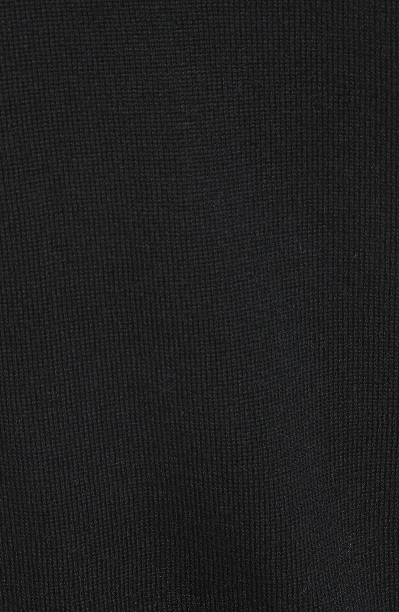 Beaded Wool Sweater with Genuine Rabbit Fur Trim,                             Alternate thumbnail 5, color,                             Black
