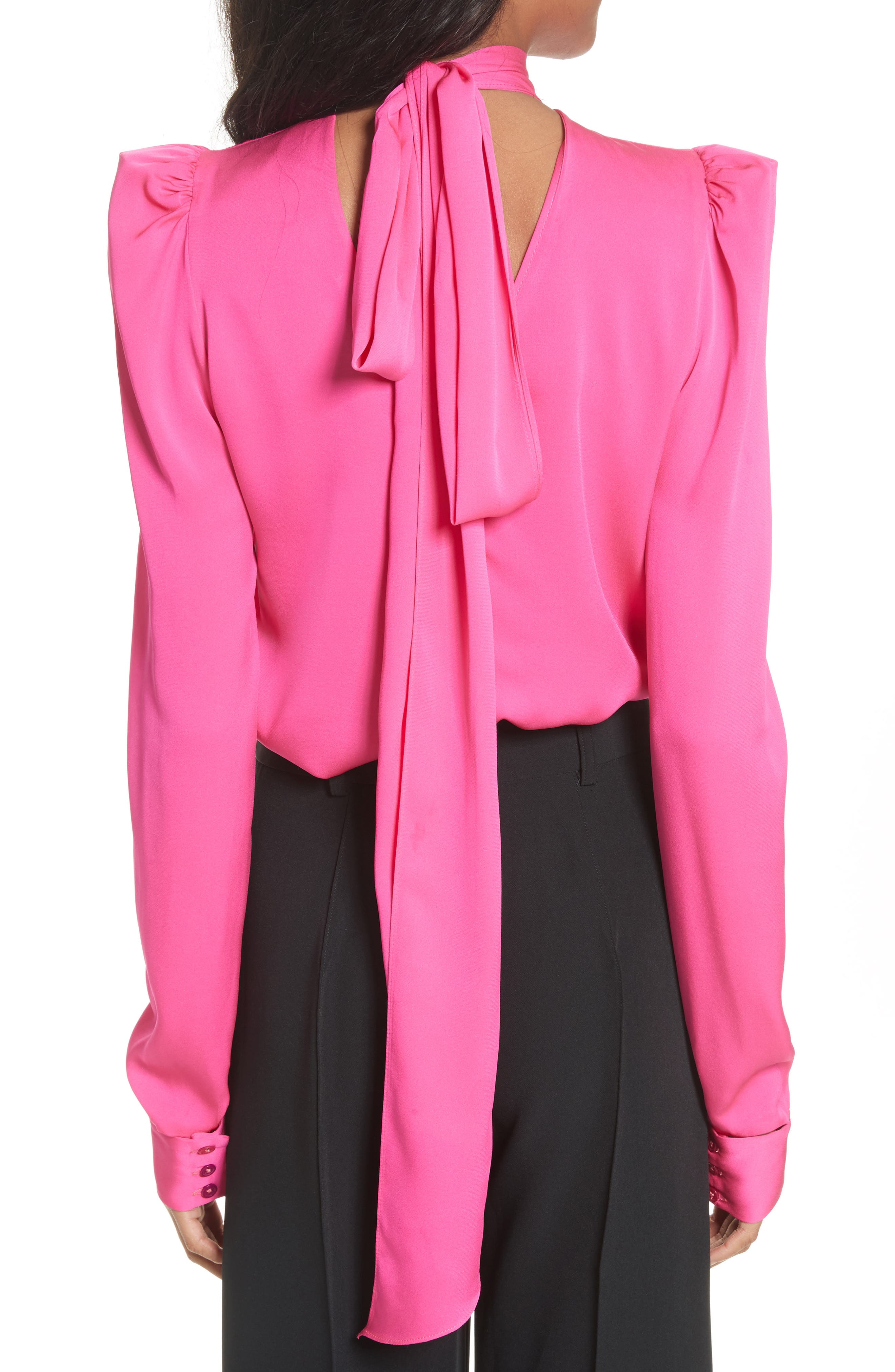 Tie Back Stretch Silk Blouse,                             Alternate thumbnail 2, color,                             Pink