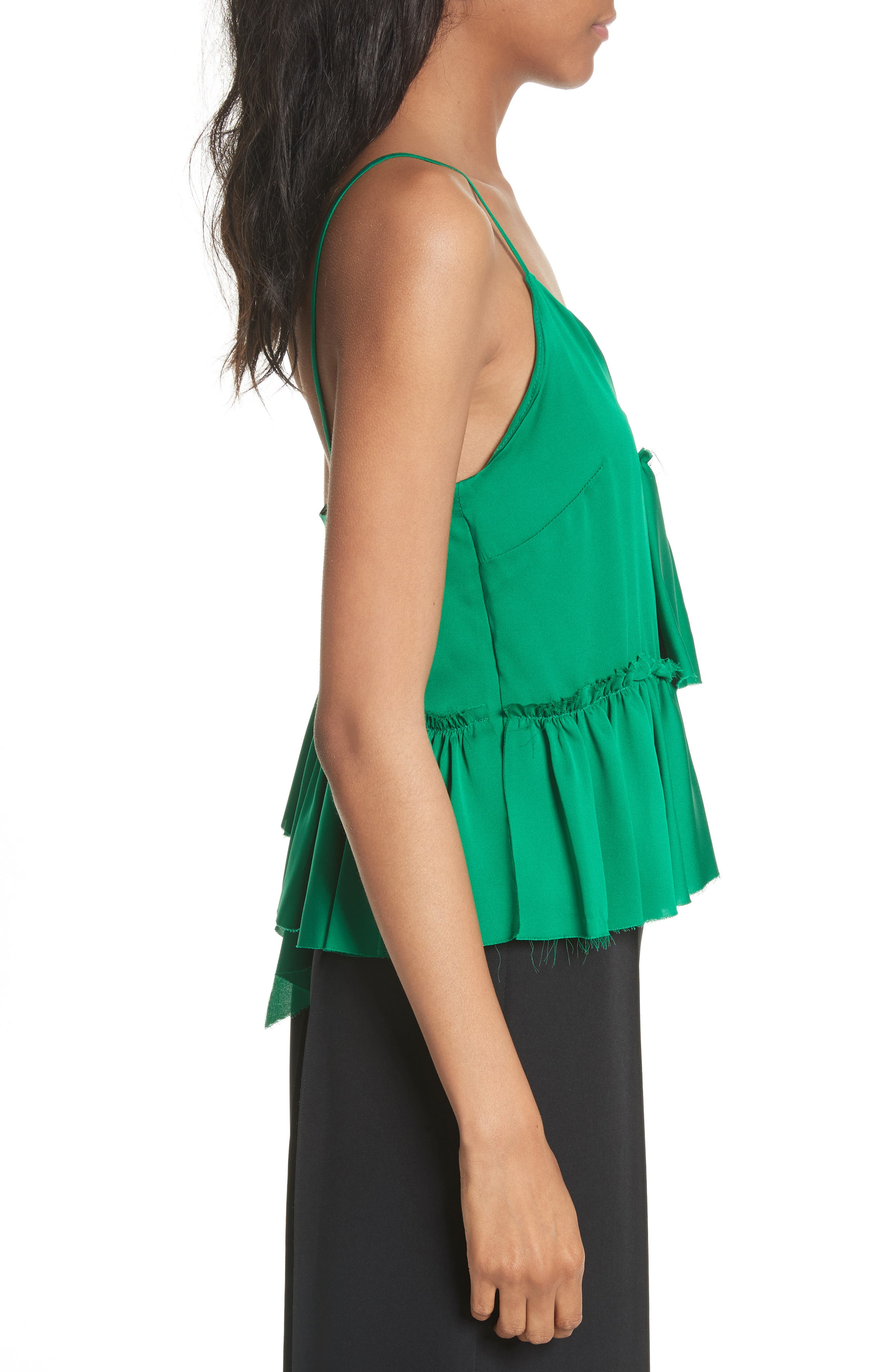 Alternate Image 4  - Milly Tiered Stretch Silk Camisole