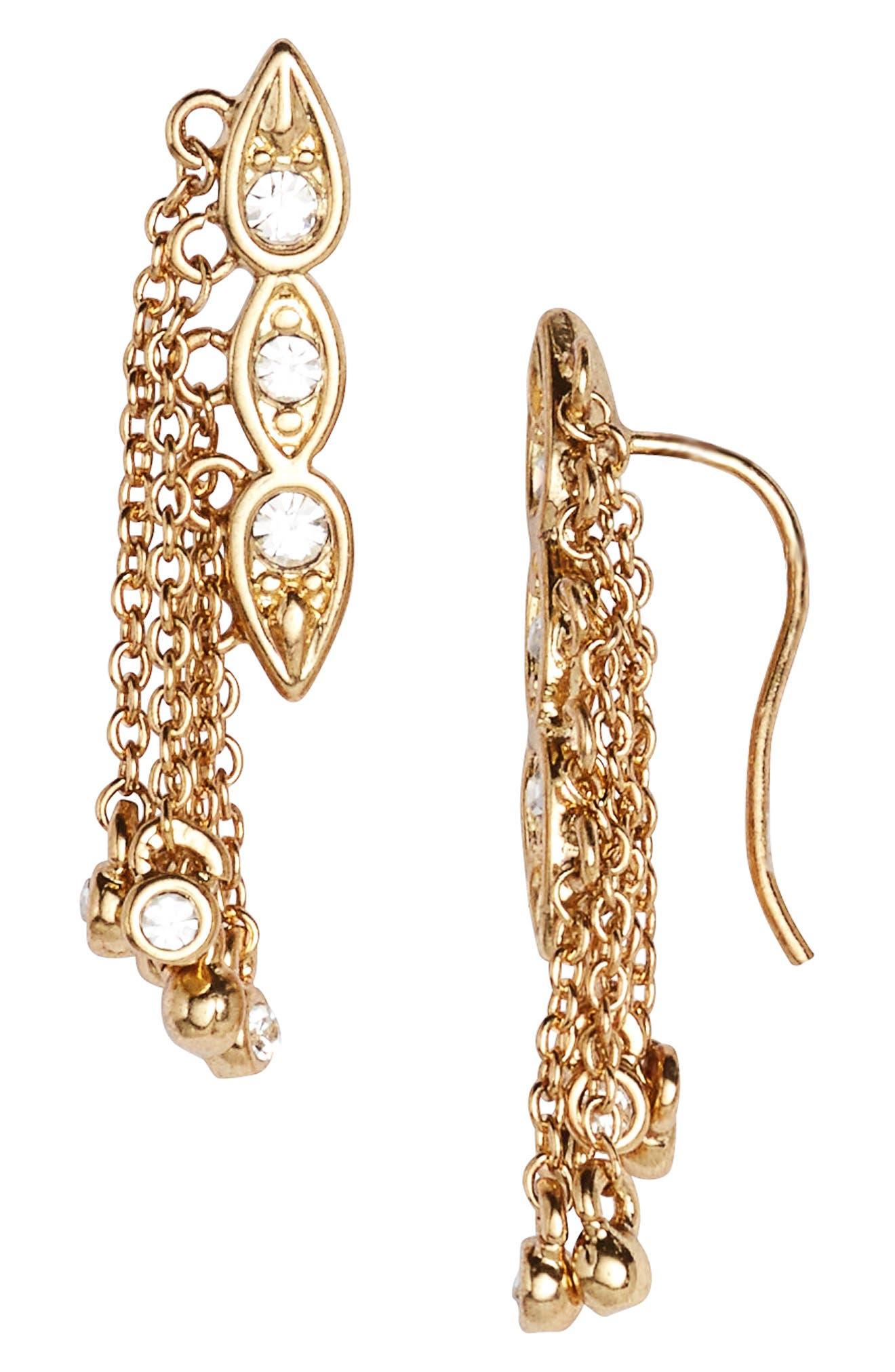 Poise Dangle Crawler Earrings,                         Main,                         color, Gold