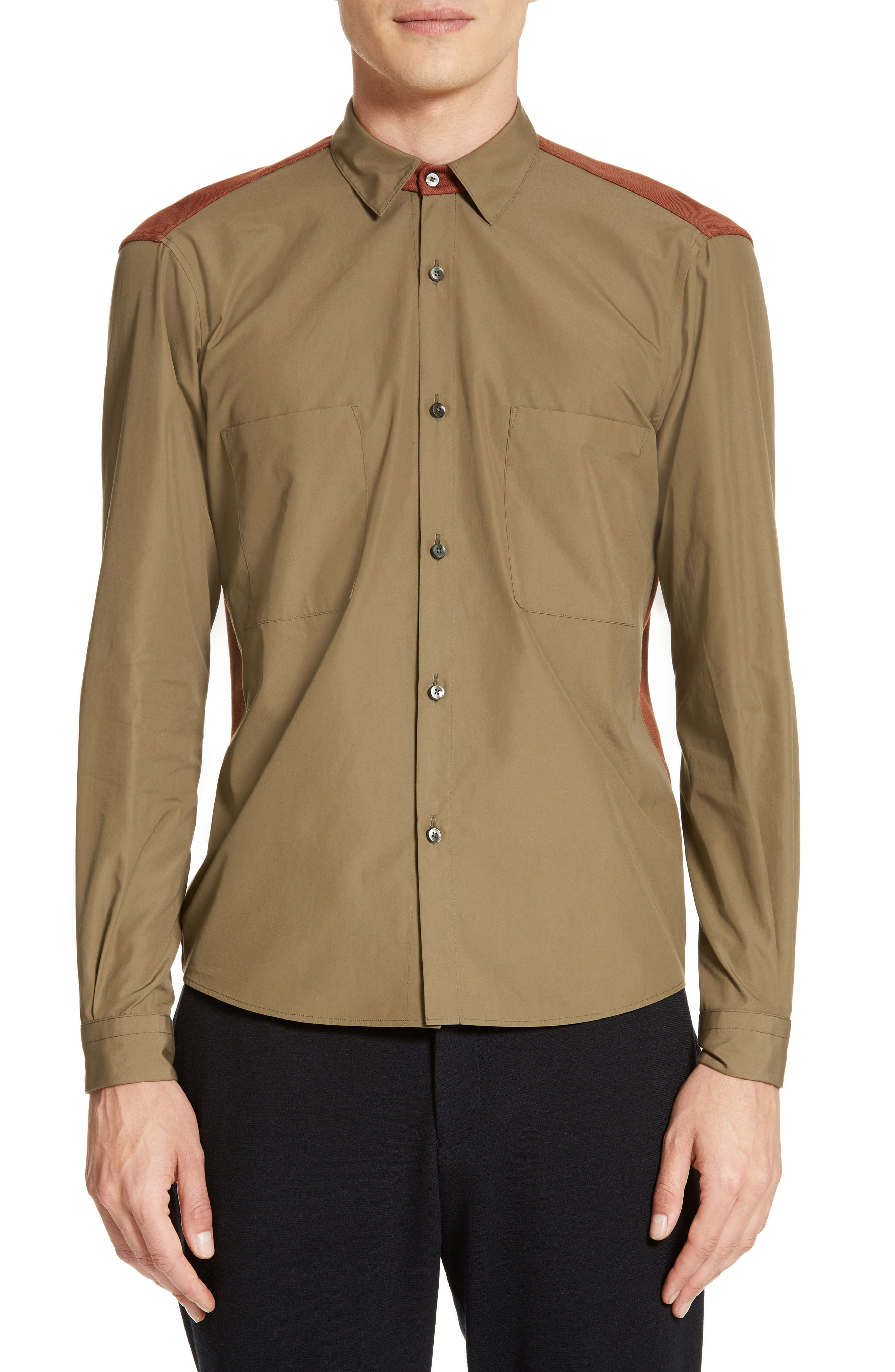 Tricot Colorblock Sport Shirt,                         Main,                         color, Army Green