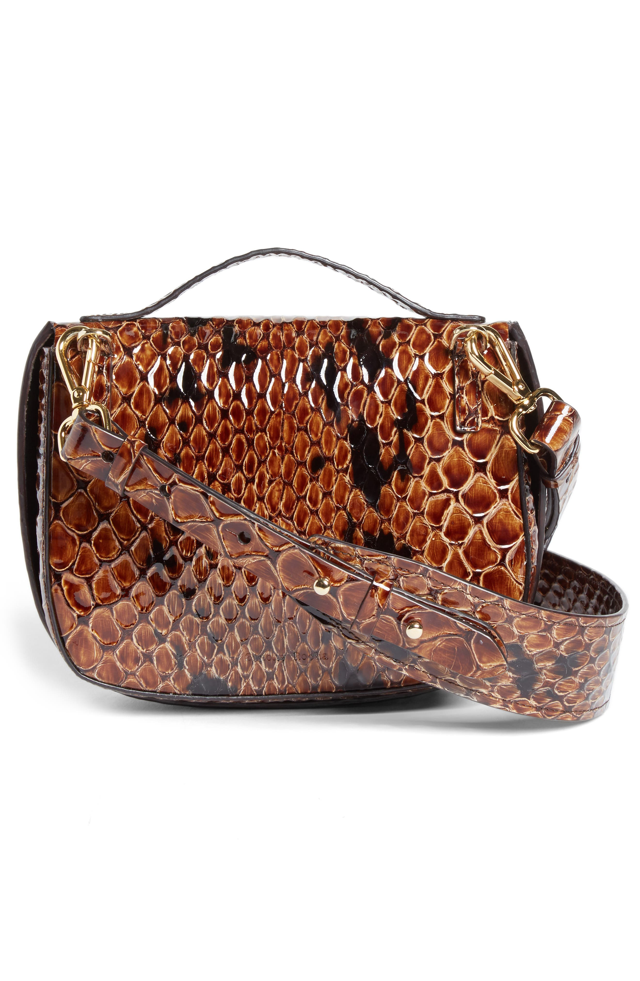Small Snake Embossed Leather Box Bag,                             Alternate thumbnail 3, color,                             Brown