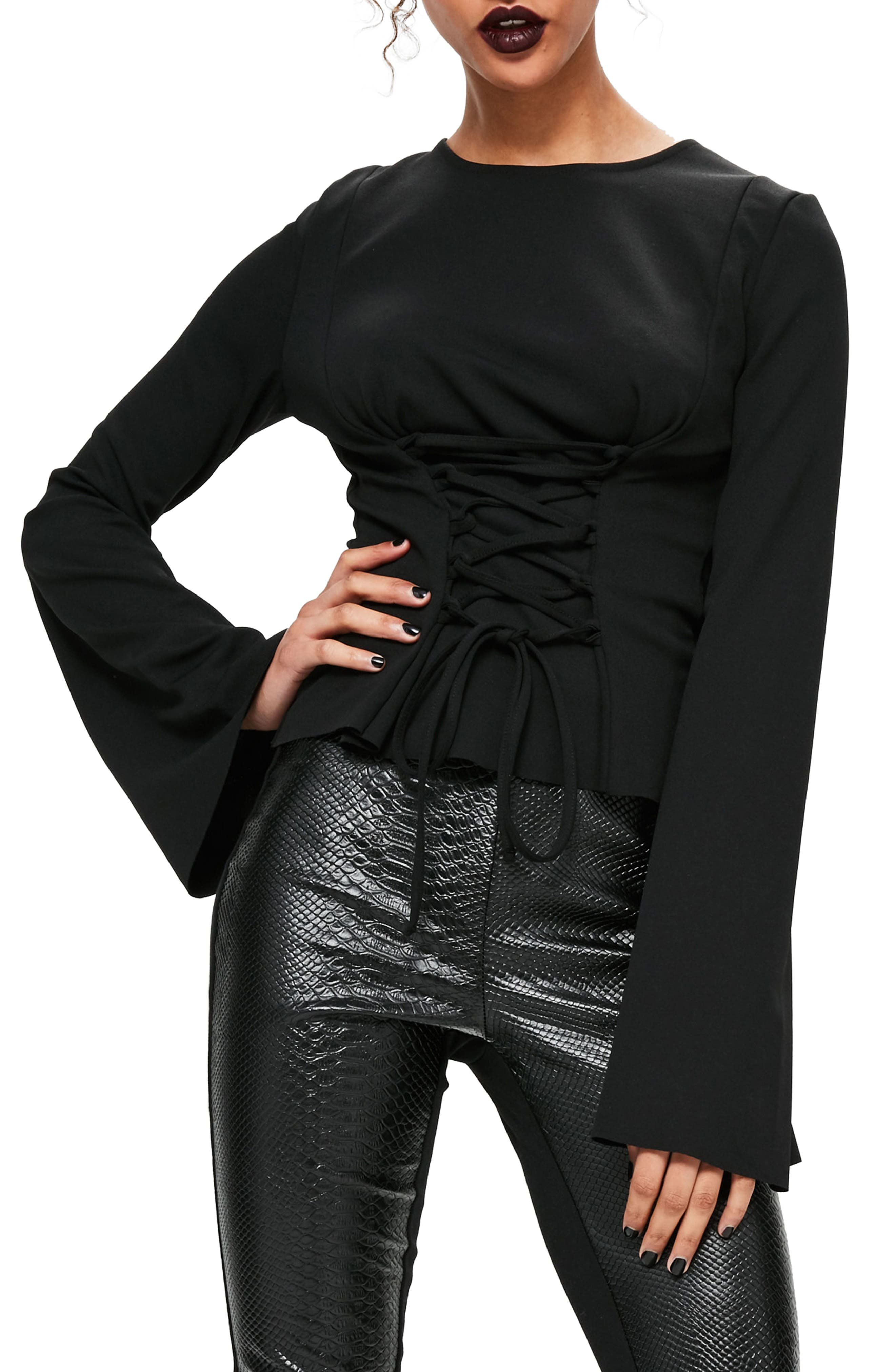 Corset Detail Flare Sleeve Top,                         Main,                         color, Black