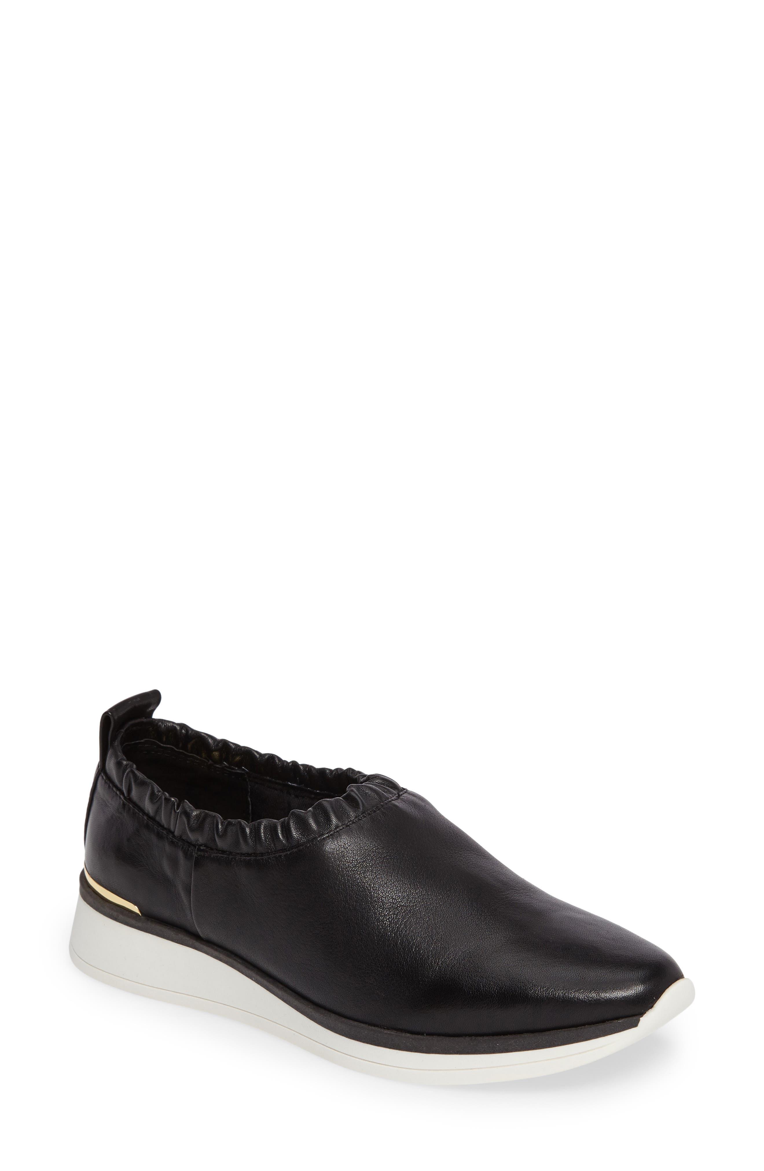 Brogen Slip-On Sneaker,                             Main thumbnail 1, color,                             Black Leather