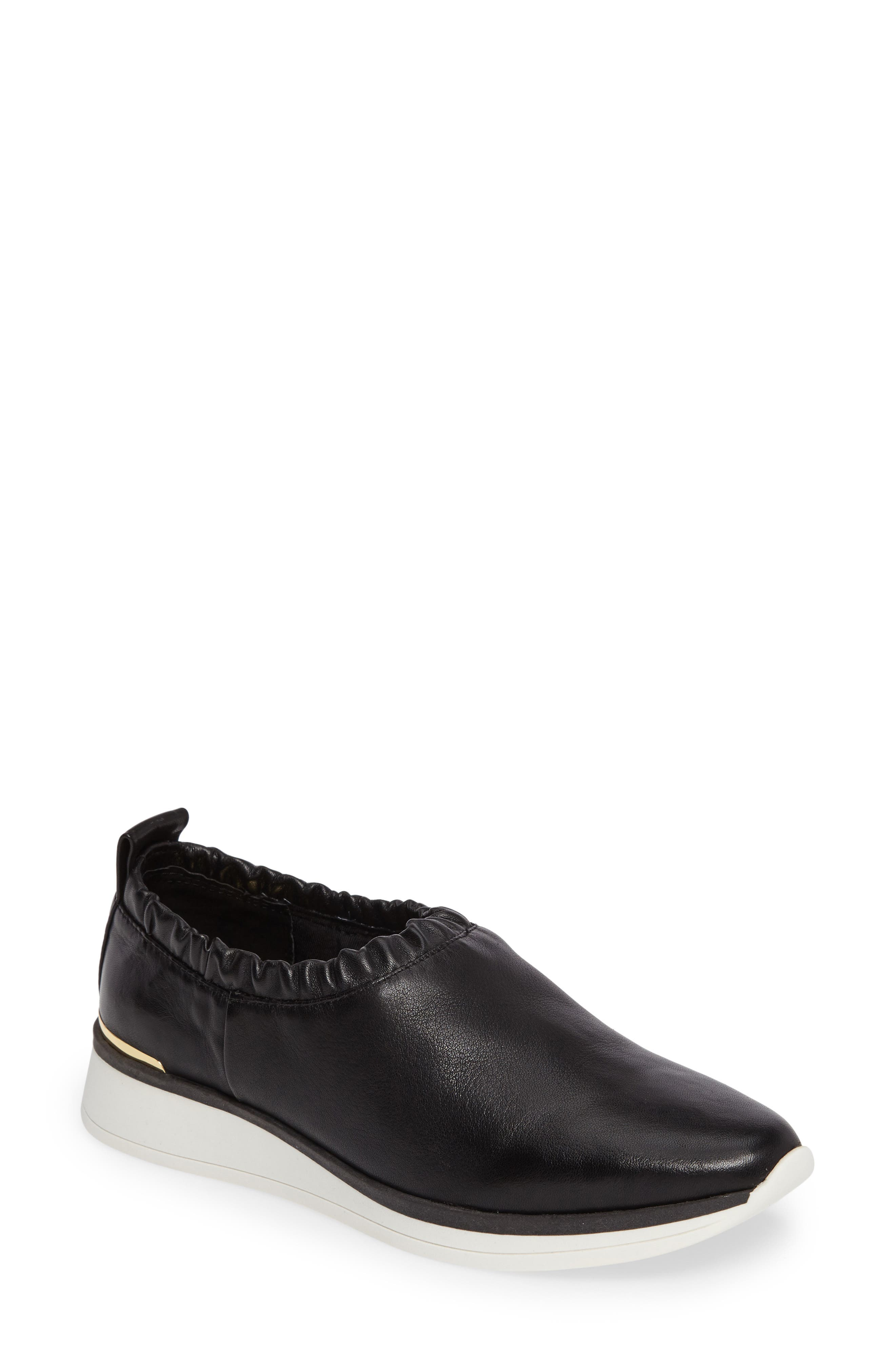 Brogen Slip-On Sneaker,                         Main,                         color, Black Leather