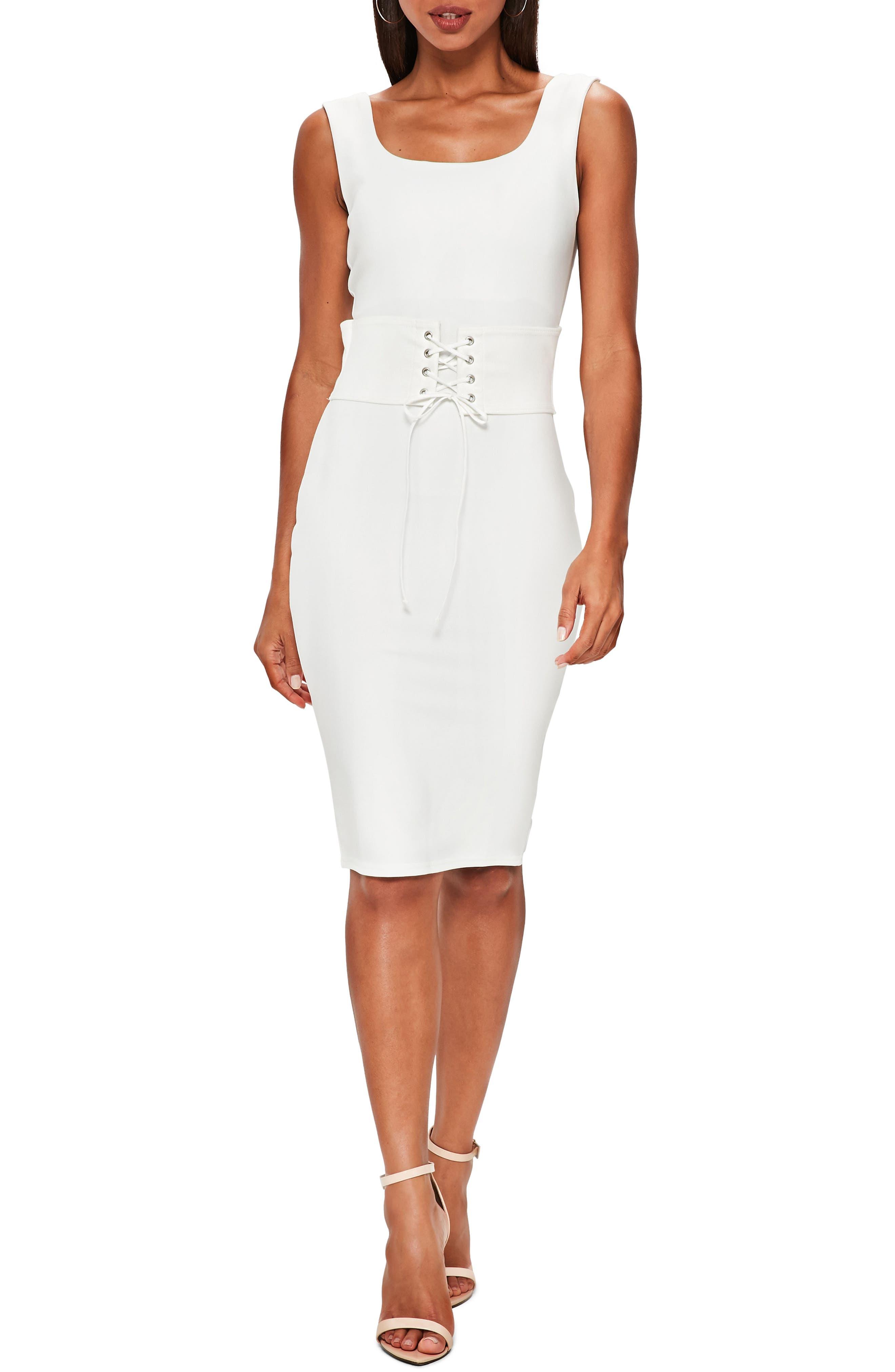 Corset Belt Body-Con Dress,                             Main thumbnail 1, color,                             Cream