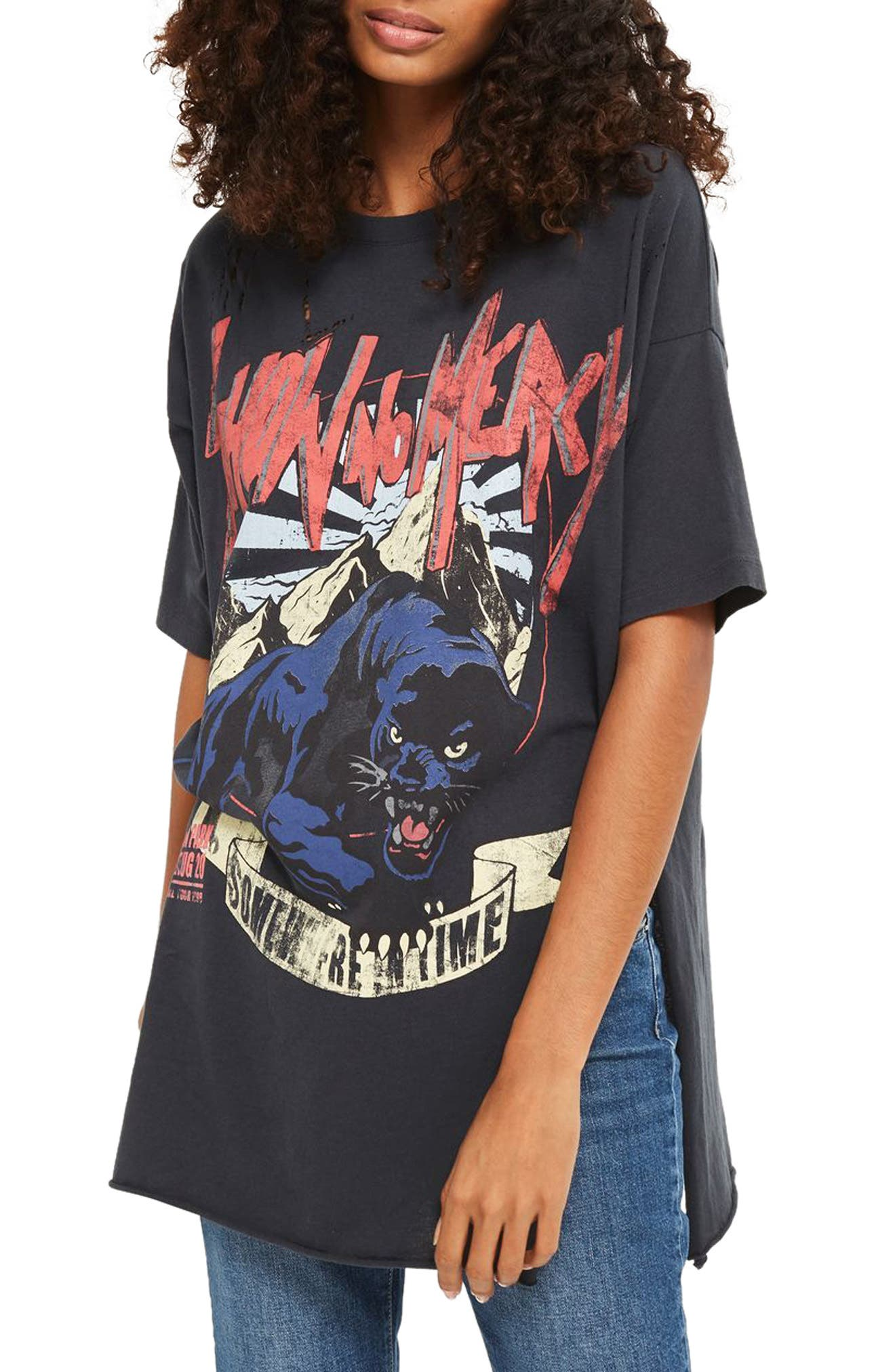 Oversize Destroyed Rocker Tee,                             Main thumbnail 1, color,                             Black Multi