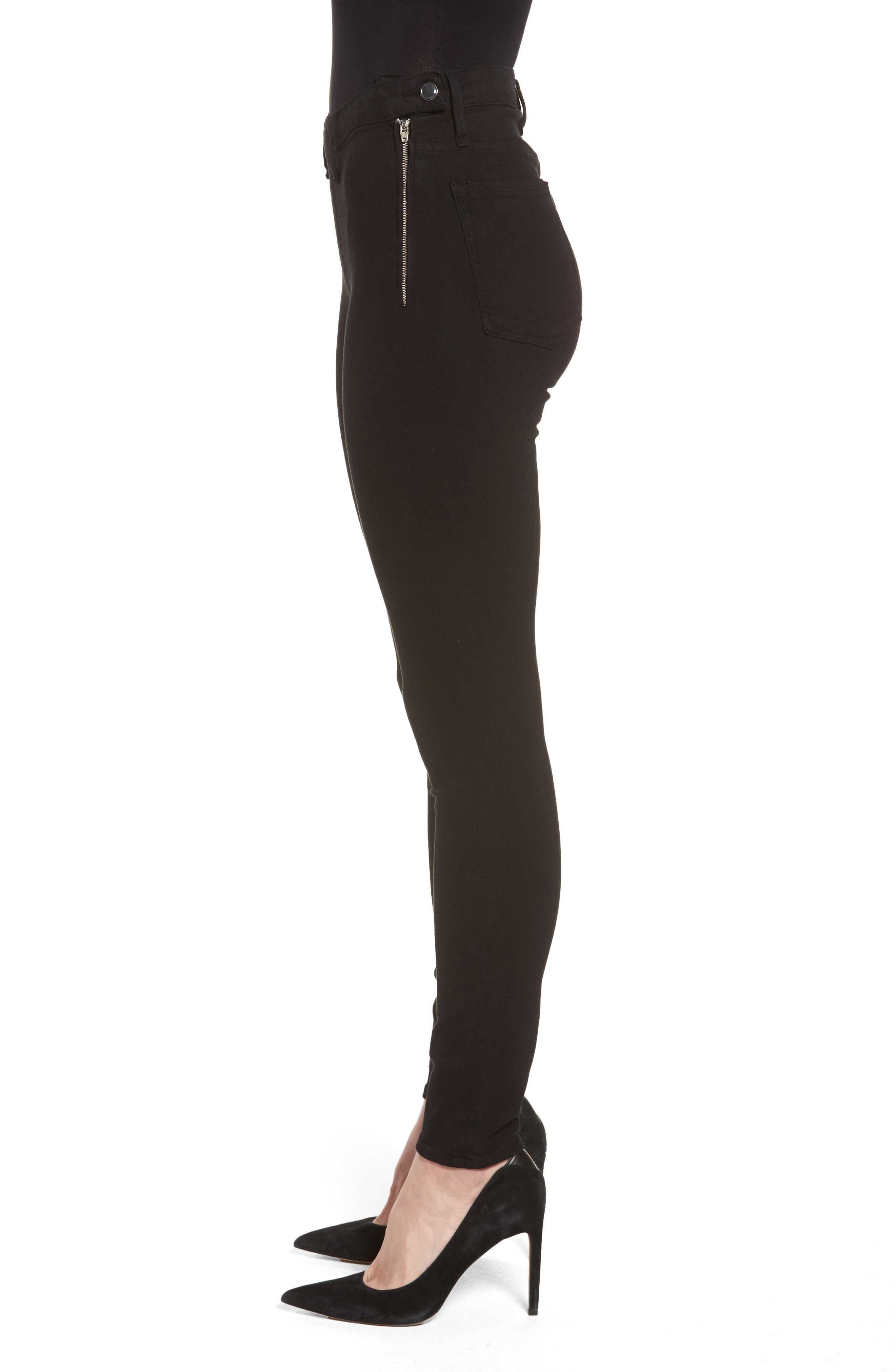 Alternate Image 3  - Good American High Waist Side Zip Skinny Jeans (Black 001) (Extended Sizes)