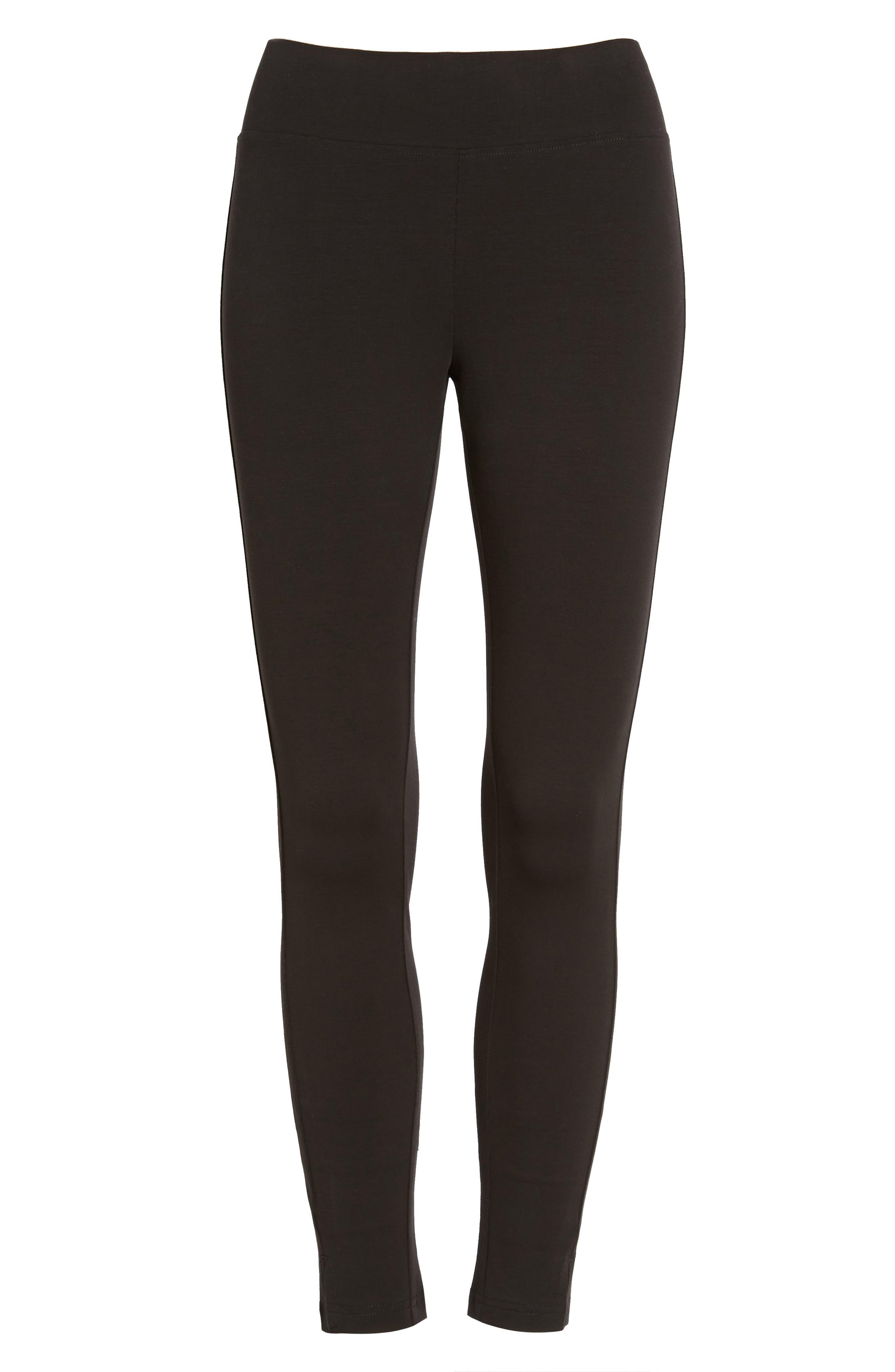Mercerized Cotton Blend Leggings,                             Alternate thumbnail 3, color,                             Black