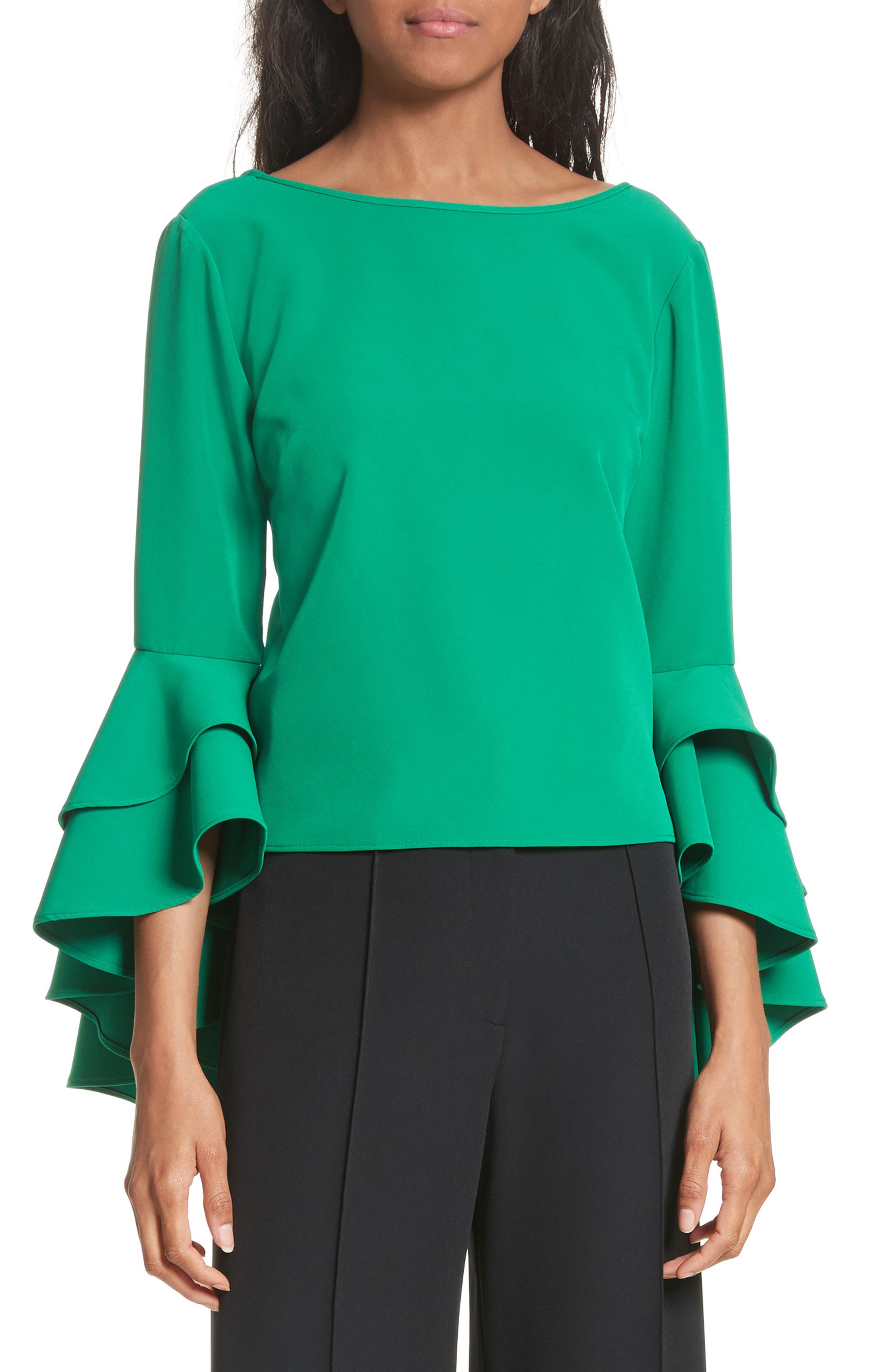 Annie Cascade Sleeve Stretch Cady Top,                         Main,                         color, Emerald
