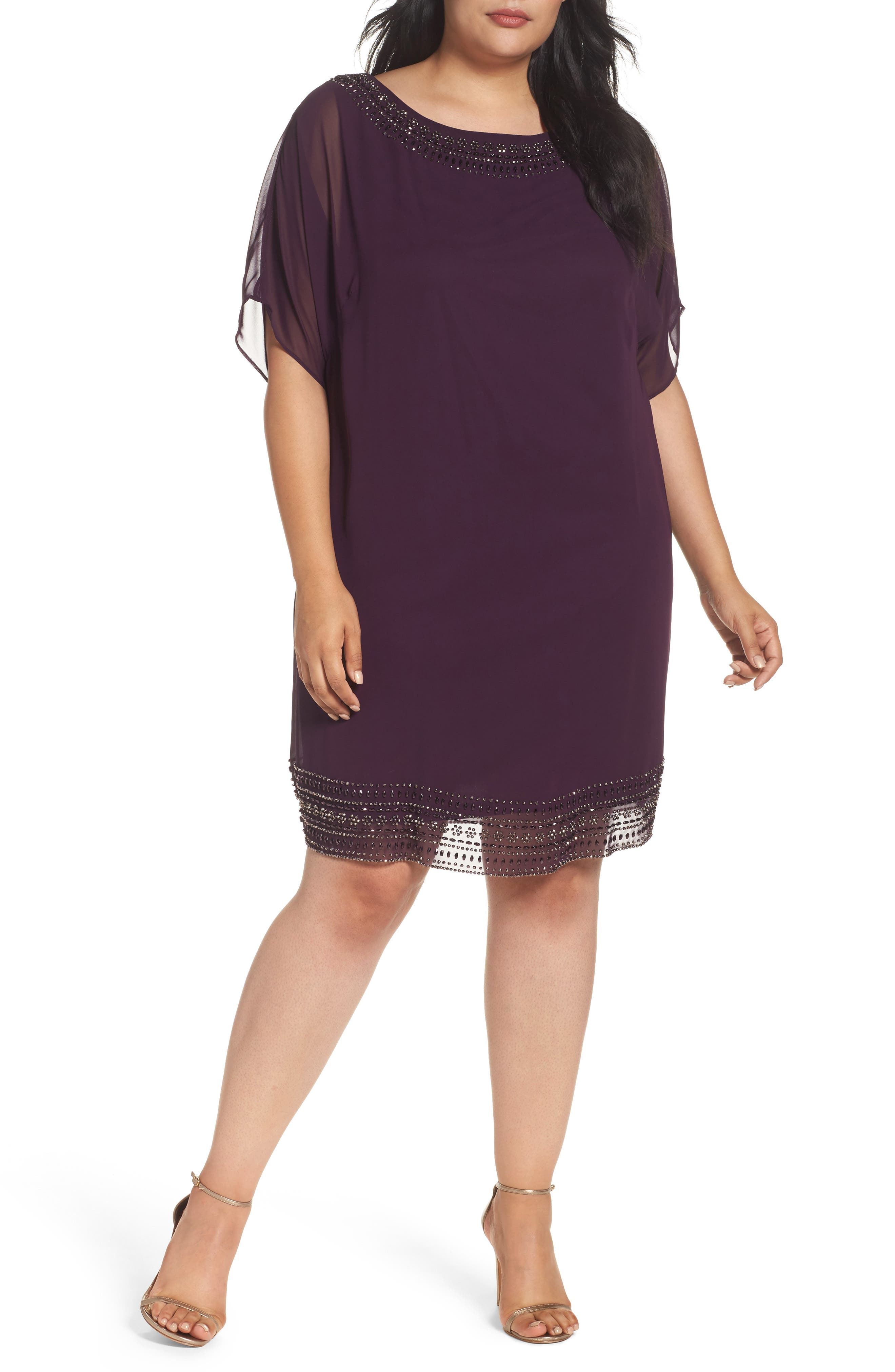 Main Image - Xscape Embellished Split Sleeve Chiffon Shift Dress (Plus Size)