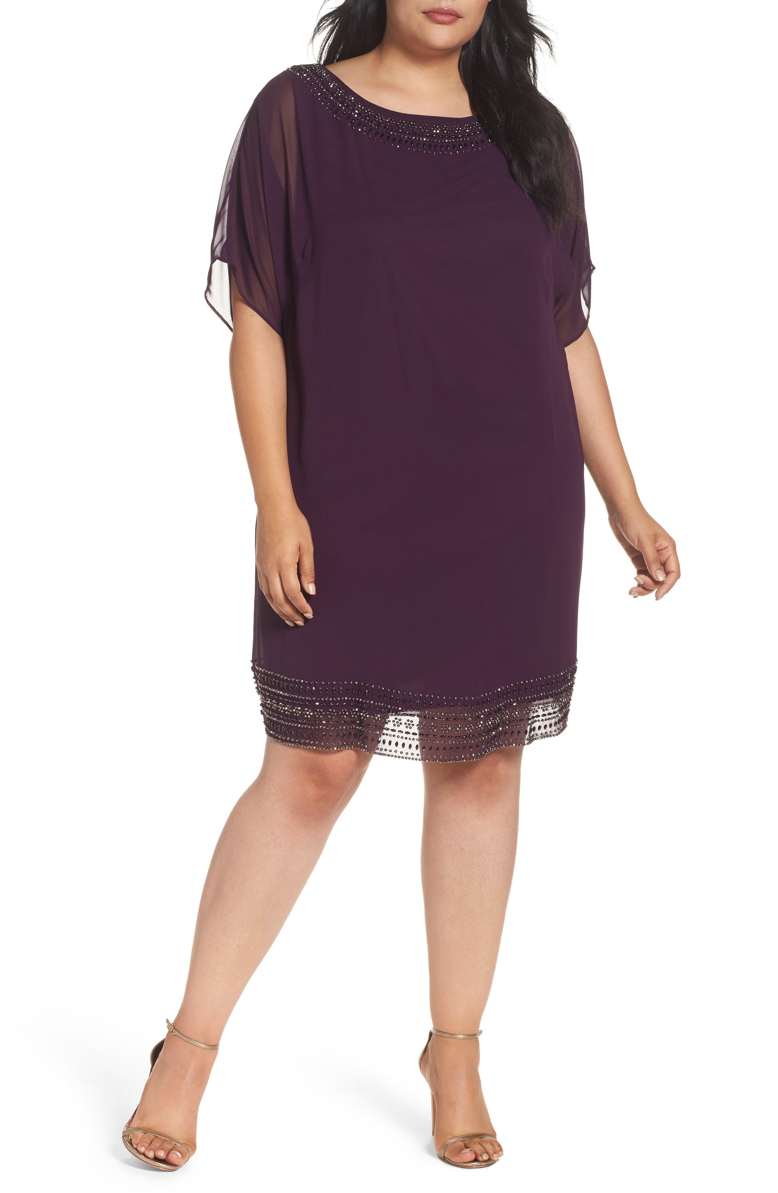 Embellished Split Sleeve Chiffon Shift Dress,                         Main,                         color, Plum/ Gunmetal