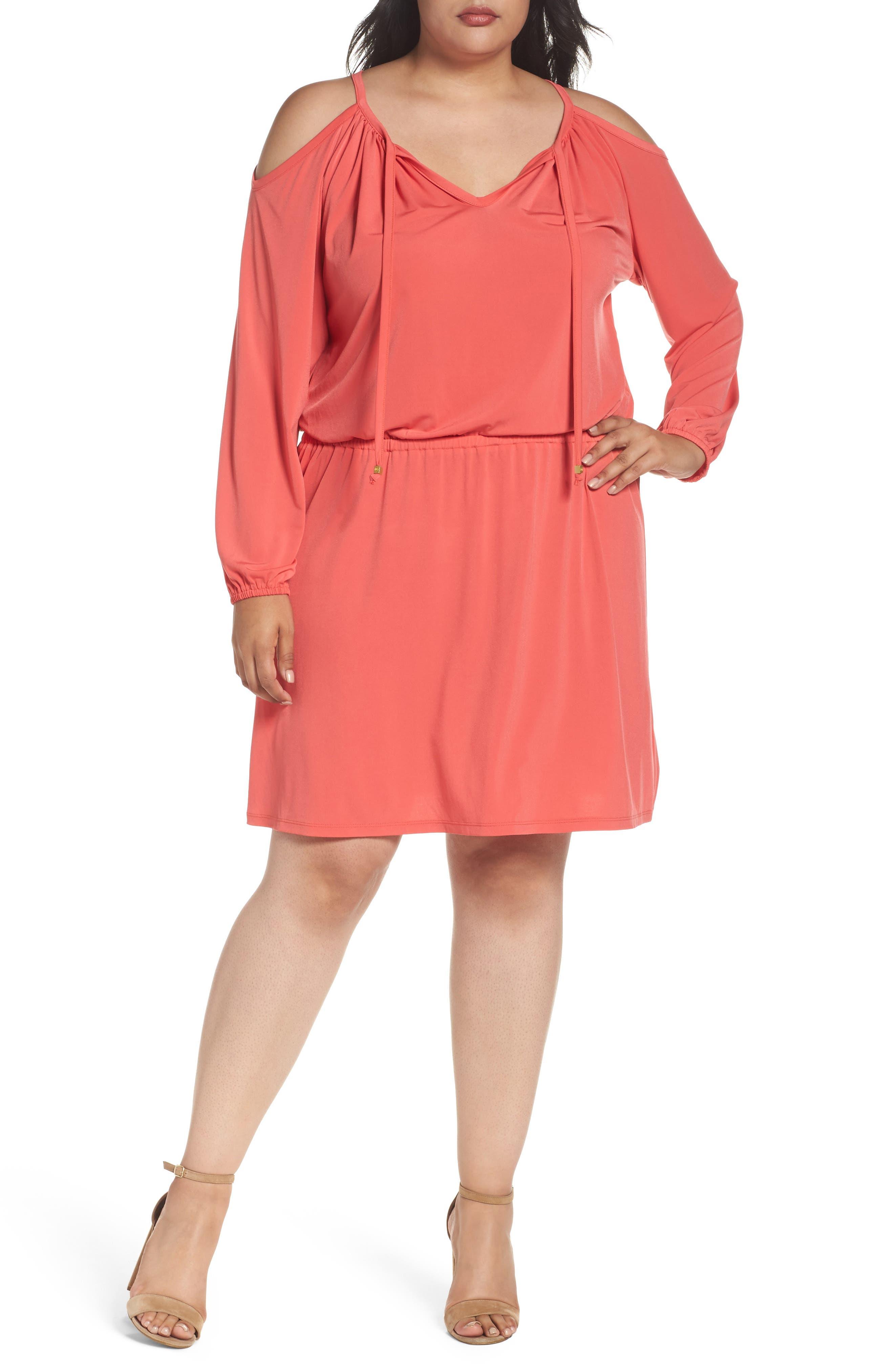 MICHAEL Michael Kors Jersey Cold Shoulder Dress (Plus Size)