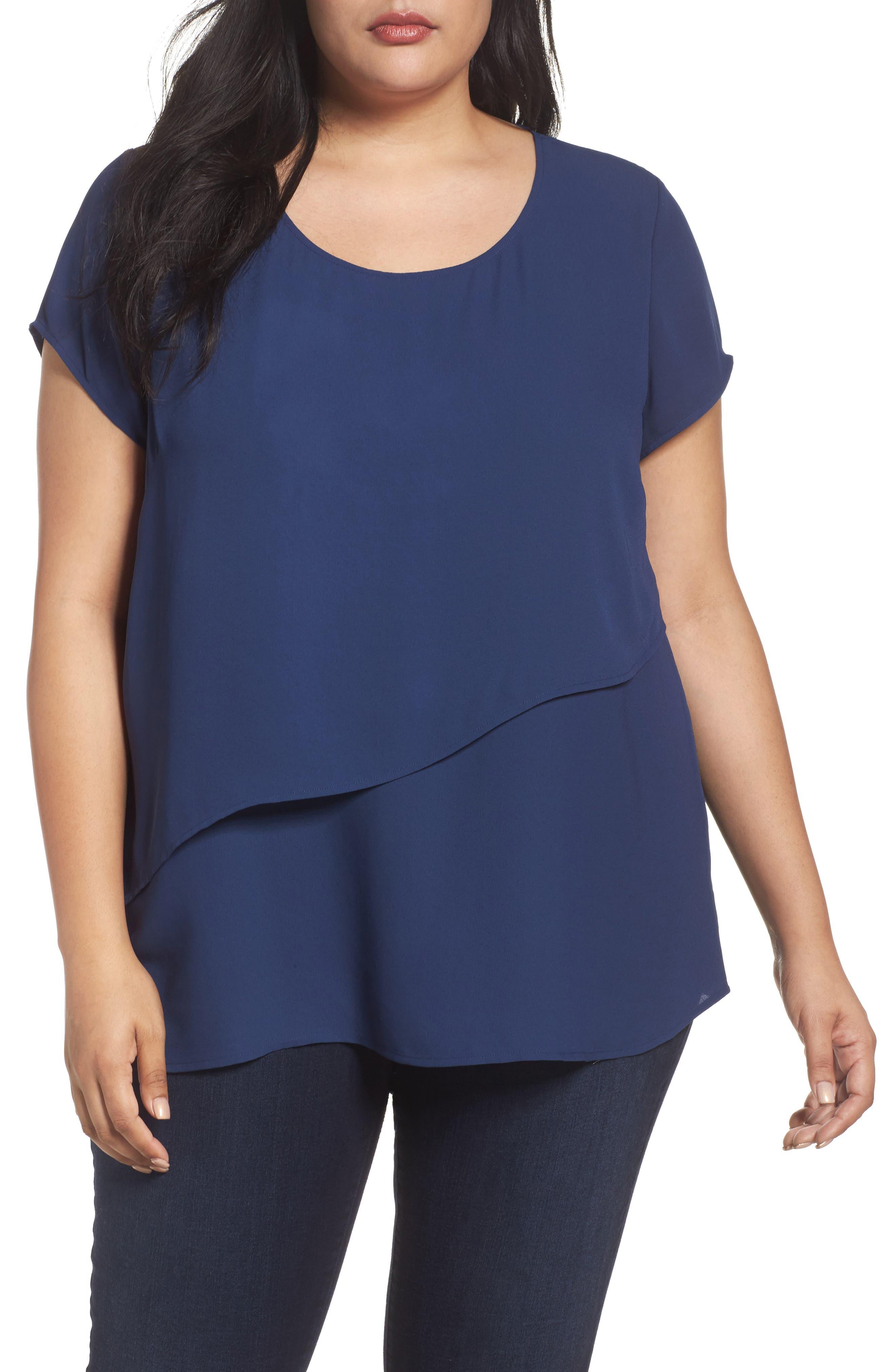 Sejour Asymmetrical Double Layer Top (Plus Size)