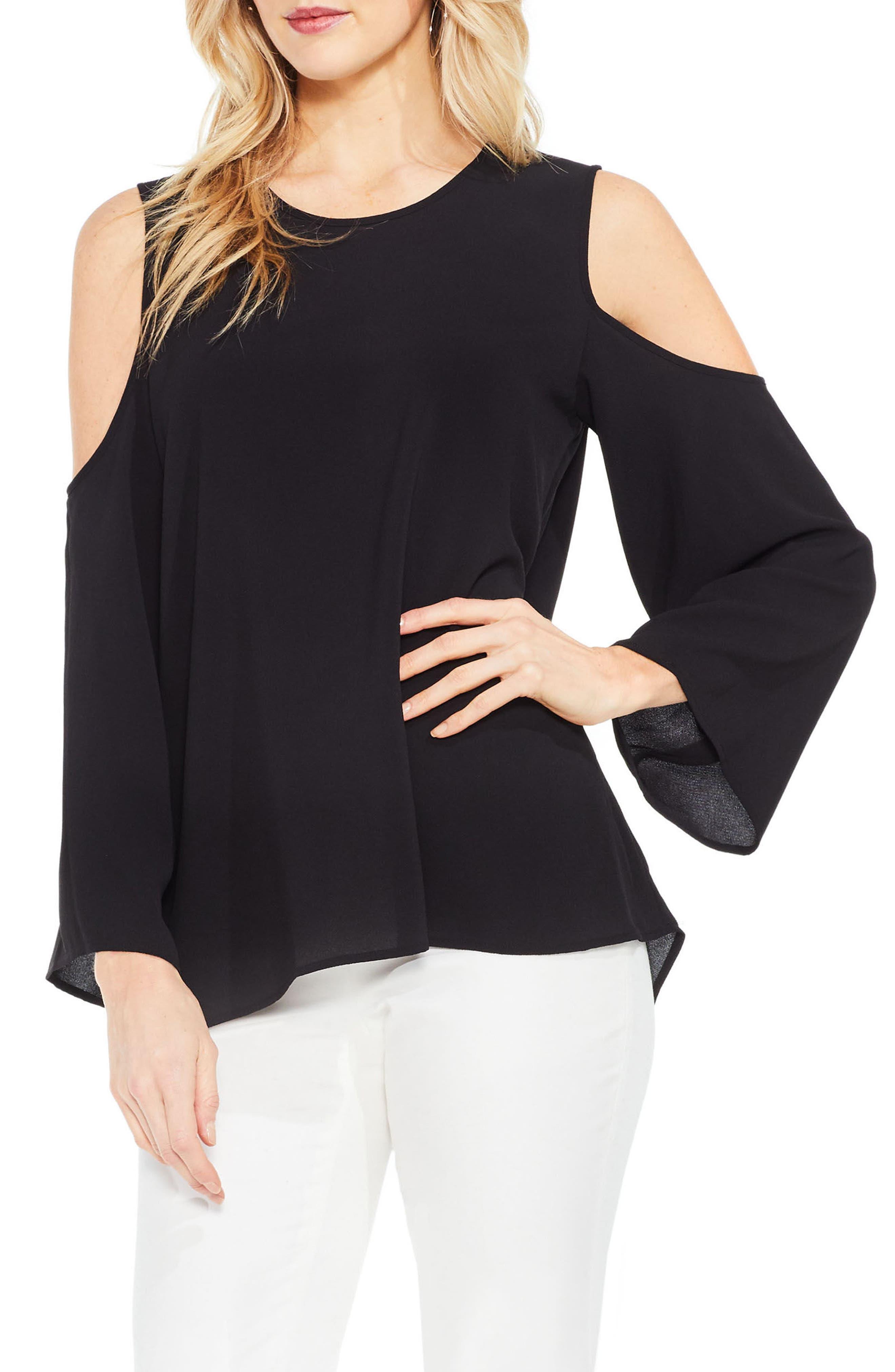 Cold Shoulder Blouse,                         Main,                         color, Rich Black
