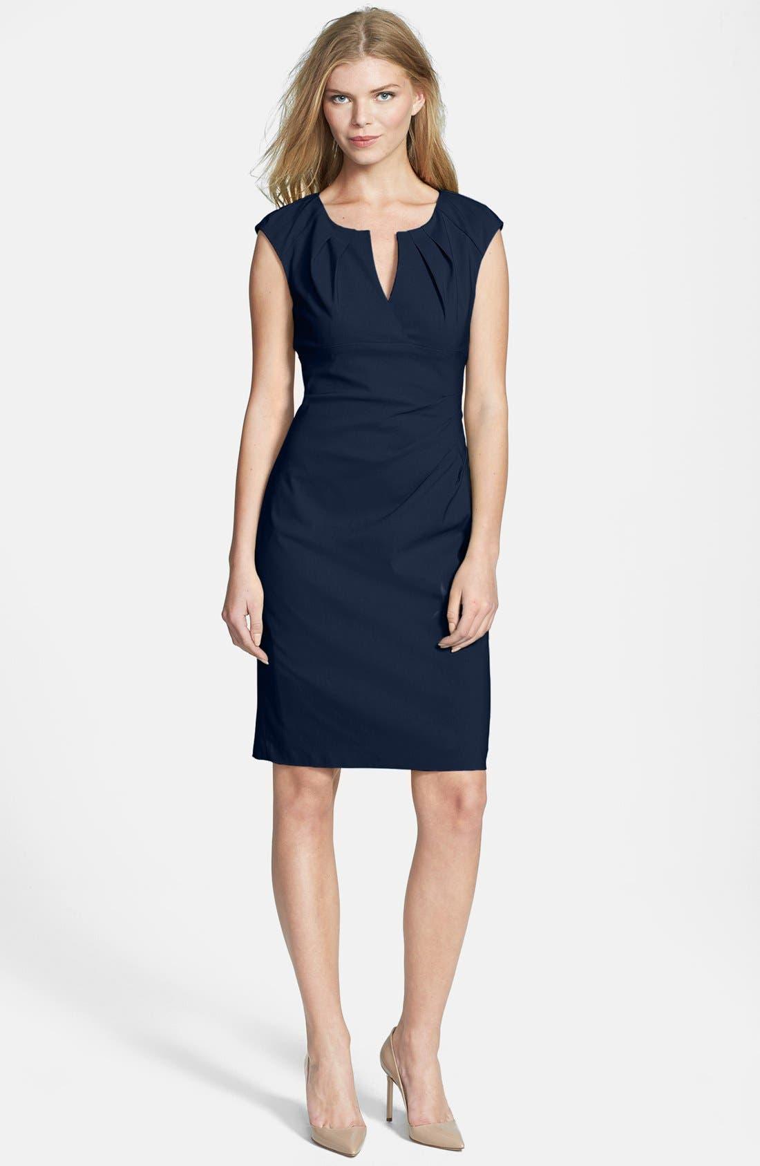 Alternate Image 3  - Adrianna Papell Side Pleat Sheath Dress (Regular & Petite)