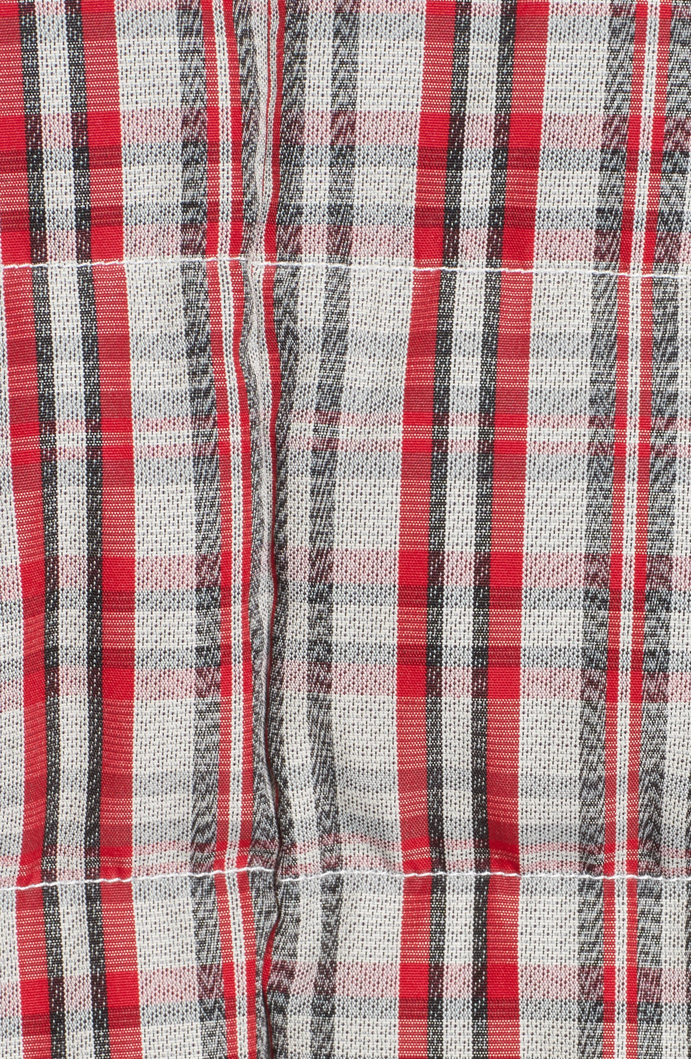 Plaid Snap Front Down Bomber,                             Alternate thumbnail 5, color,                             White/ Bright Red/ Black