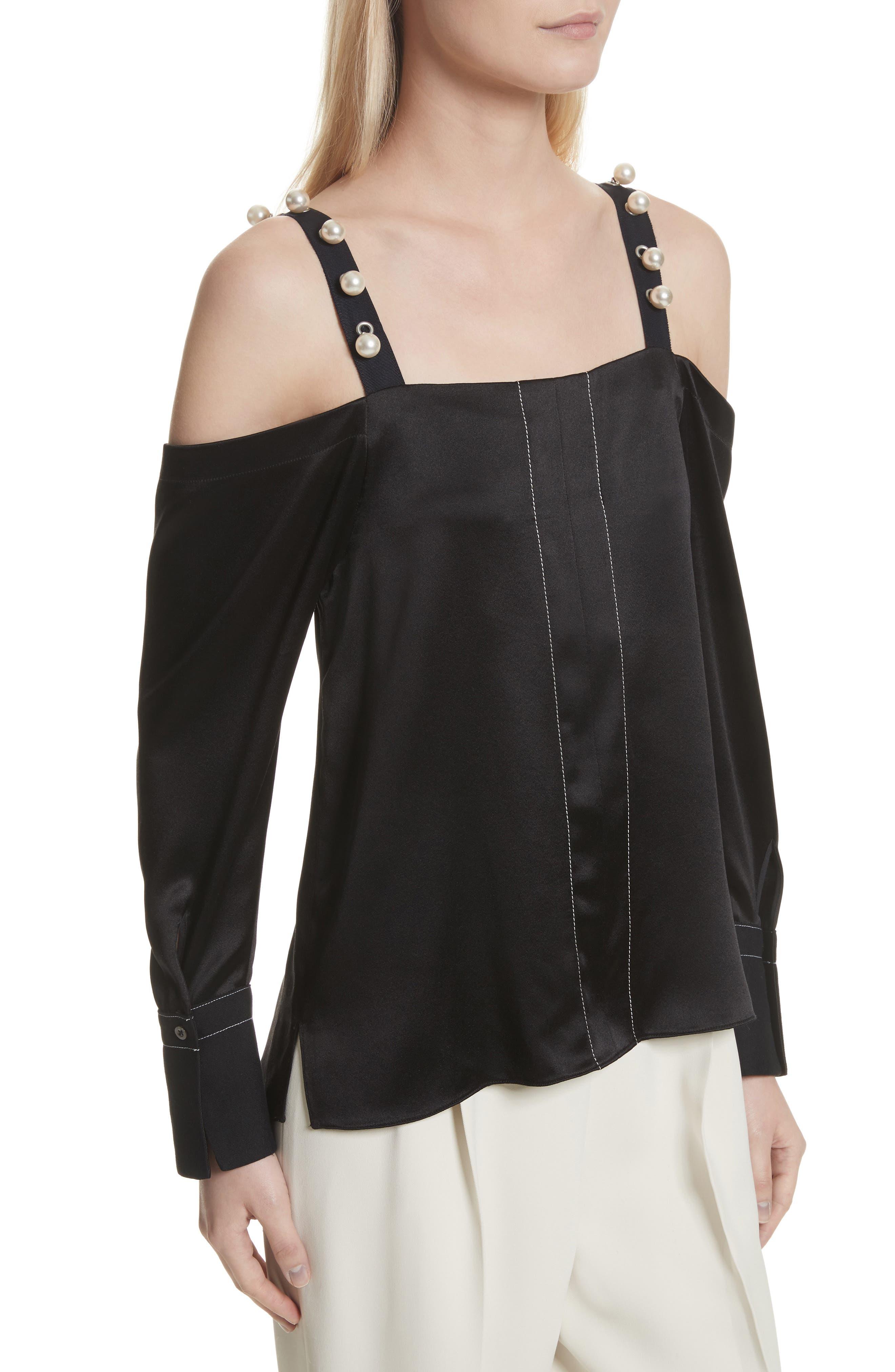 Alternate Image 4  - 3.1 Phillip Lim Faux Pearl Strap Silk Cold Shoulder Top