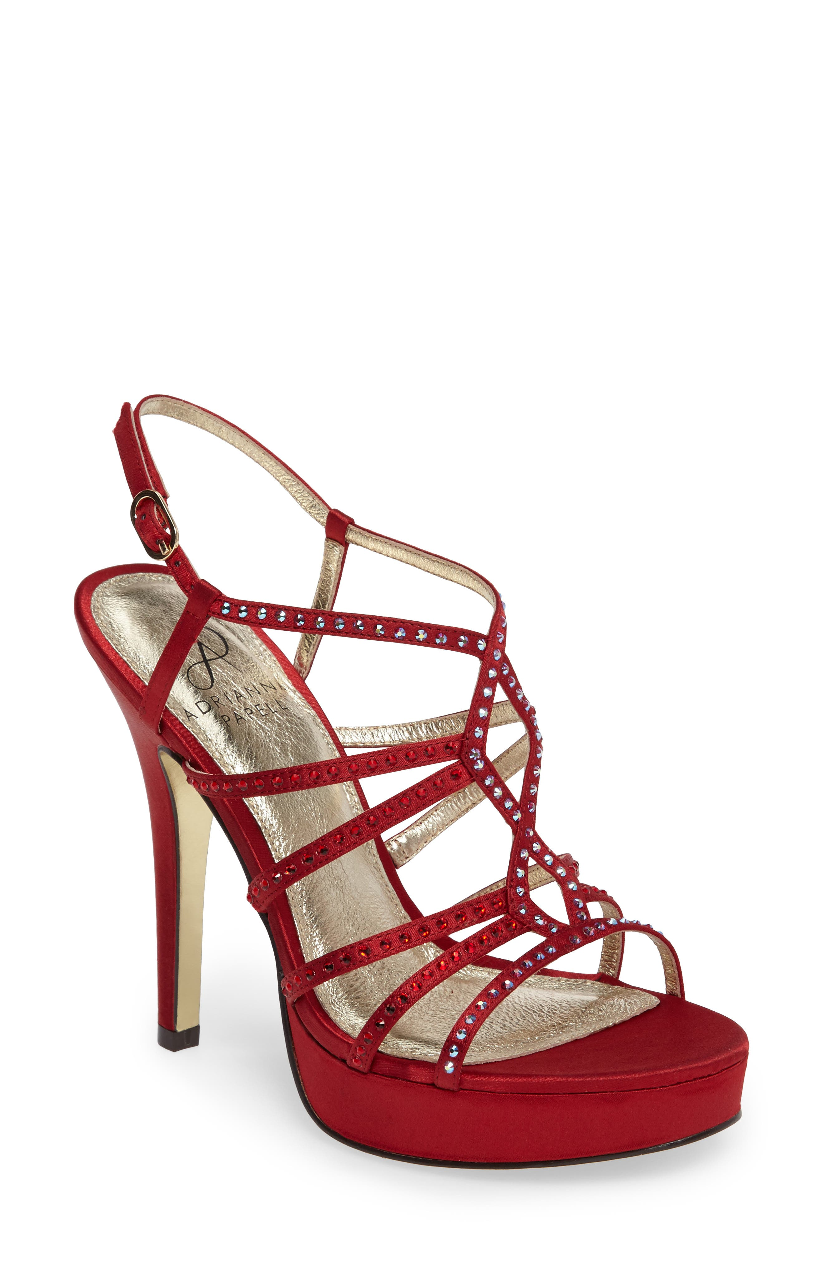 Miranda Embellished Platform Sandal,                             Main thumbnail 1, color,                             Red Classic Satin