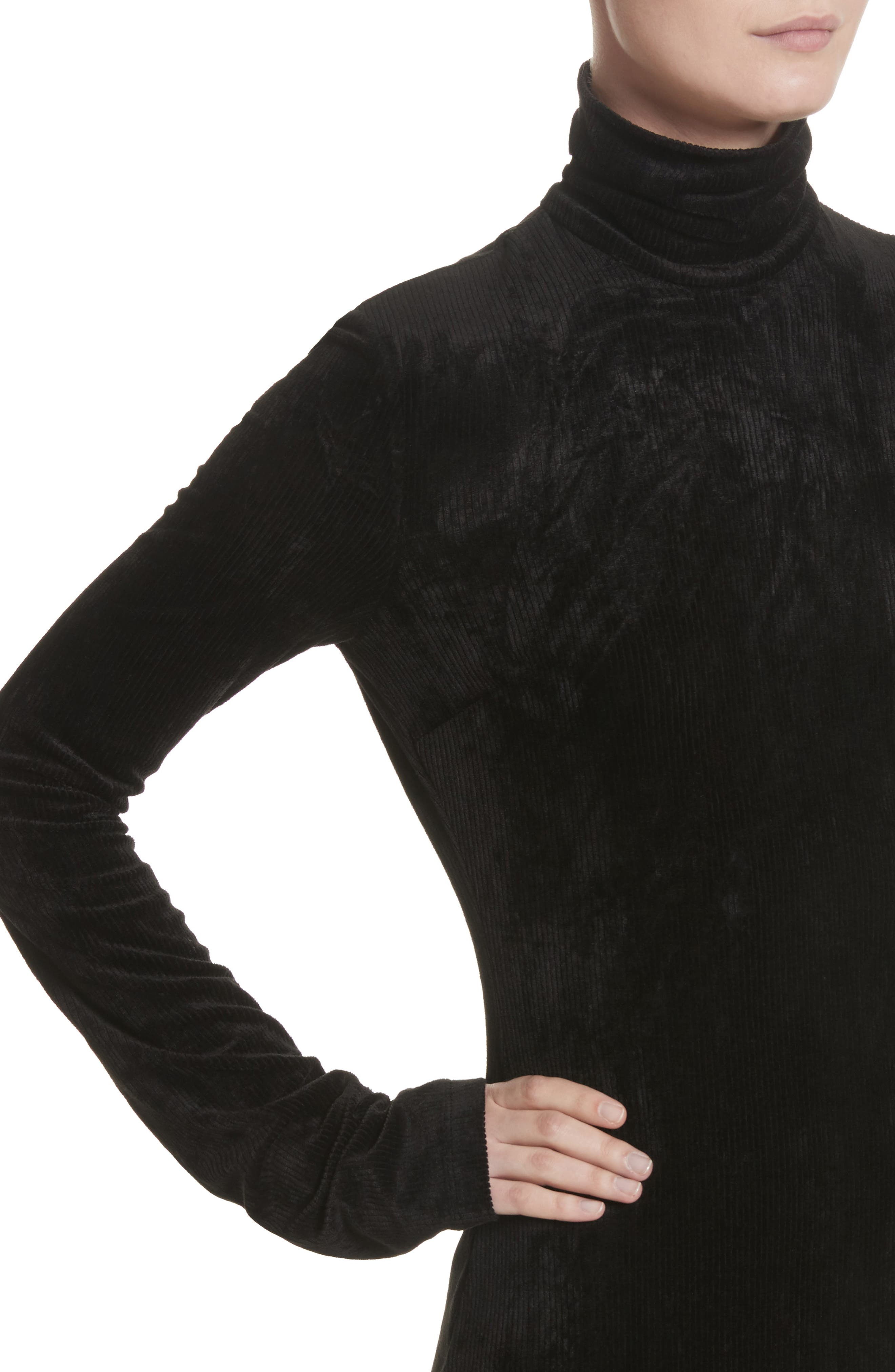 Abigail Funnel Neck Dress,                             Alternate thumbnail 7, color,                             Black